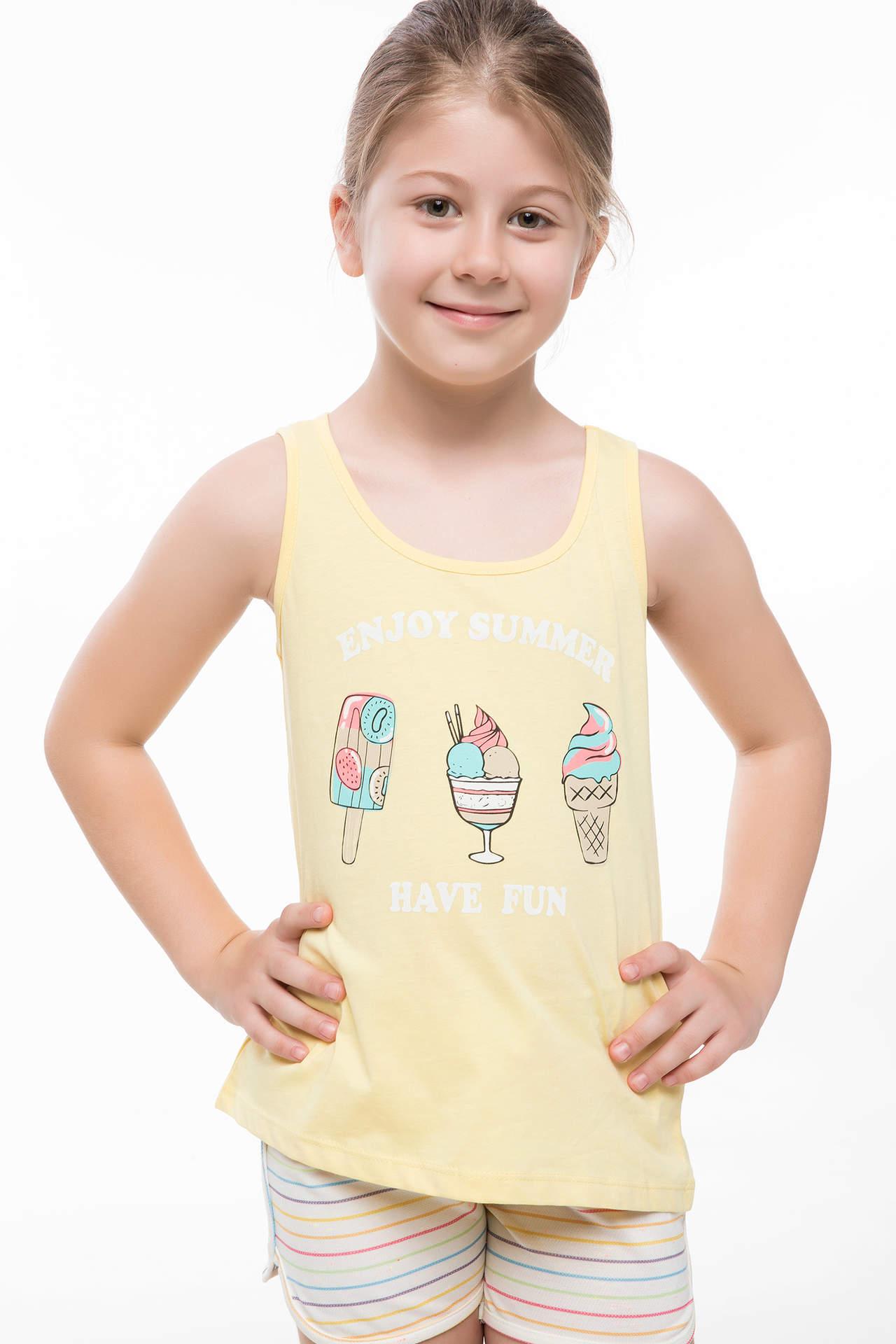 DeFacto Kız Çocuk Dondurma Baskılı Atlet Sarı female
