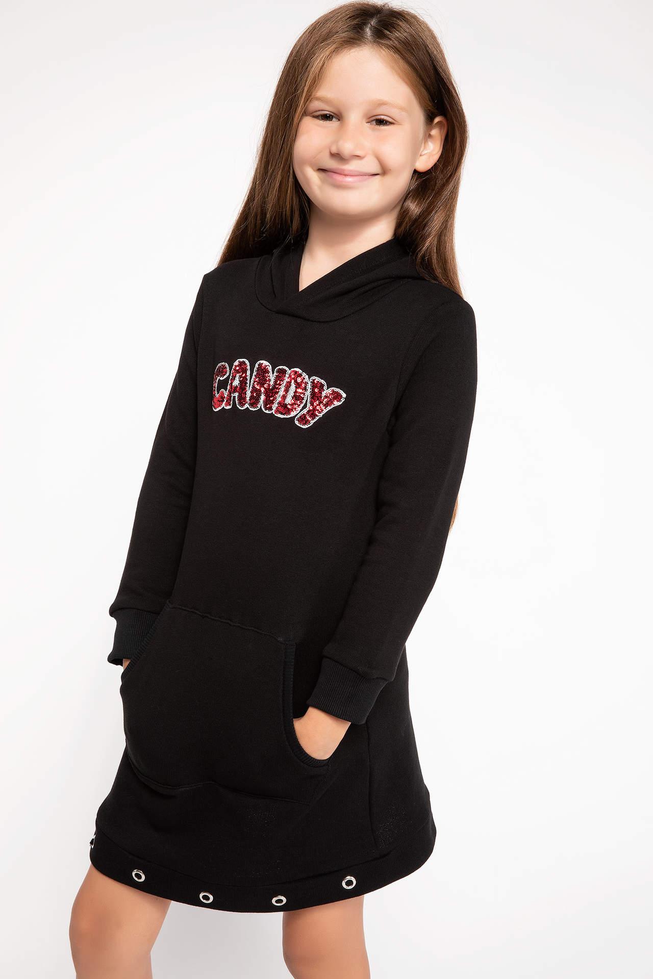 DeFacto Kız Çocuk Kapüşonlu Baskılı Elbise Siyah female