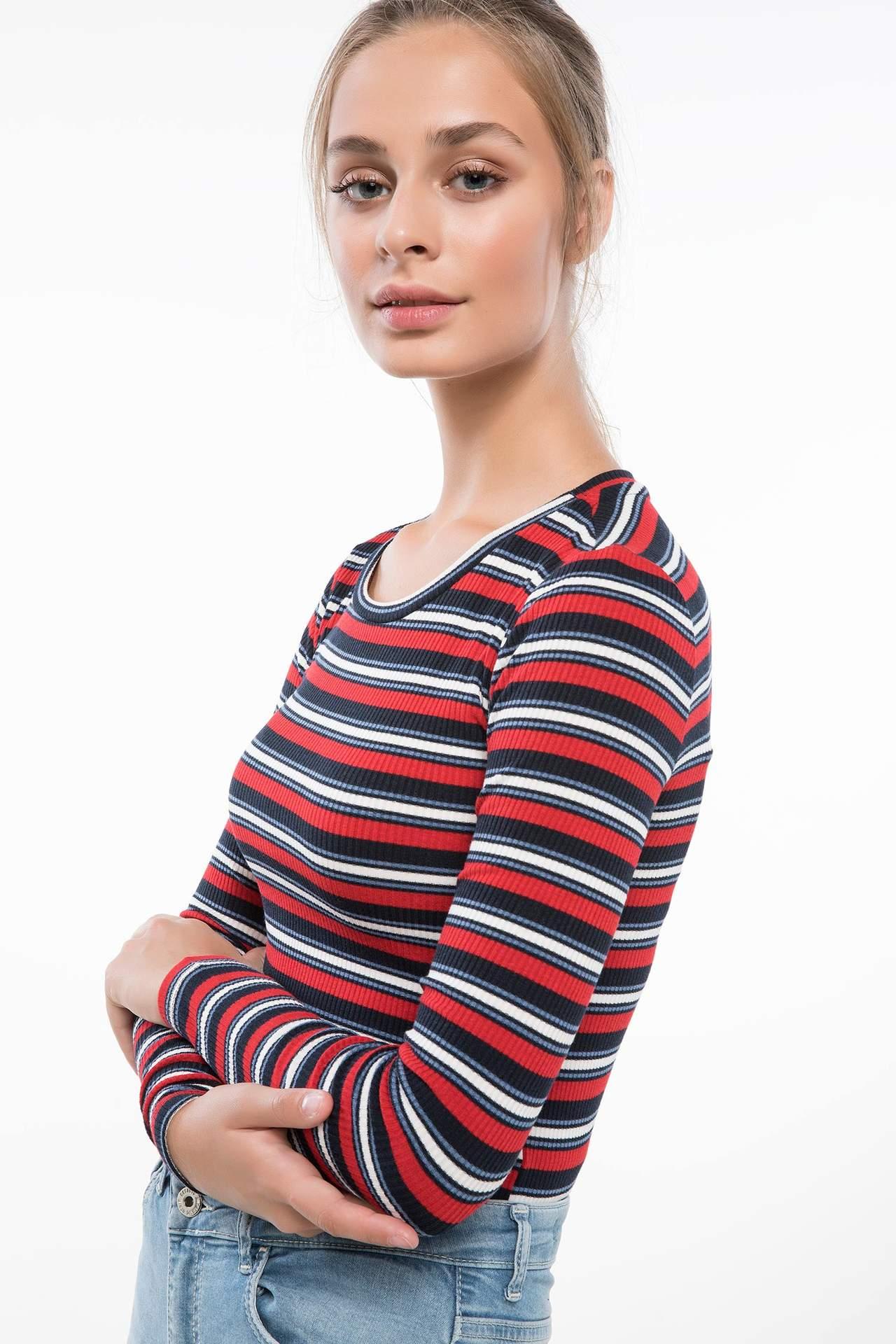 DeFacto Kadın Çizgili Uzun Kollu T-shirt Lacivert female