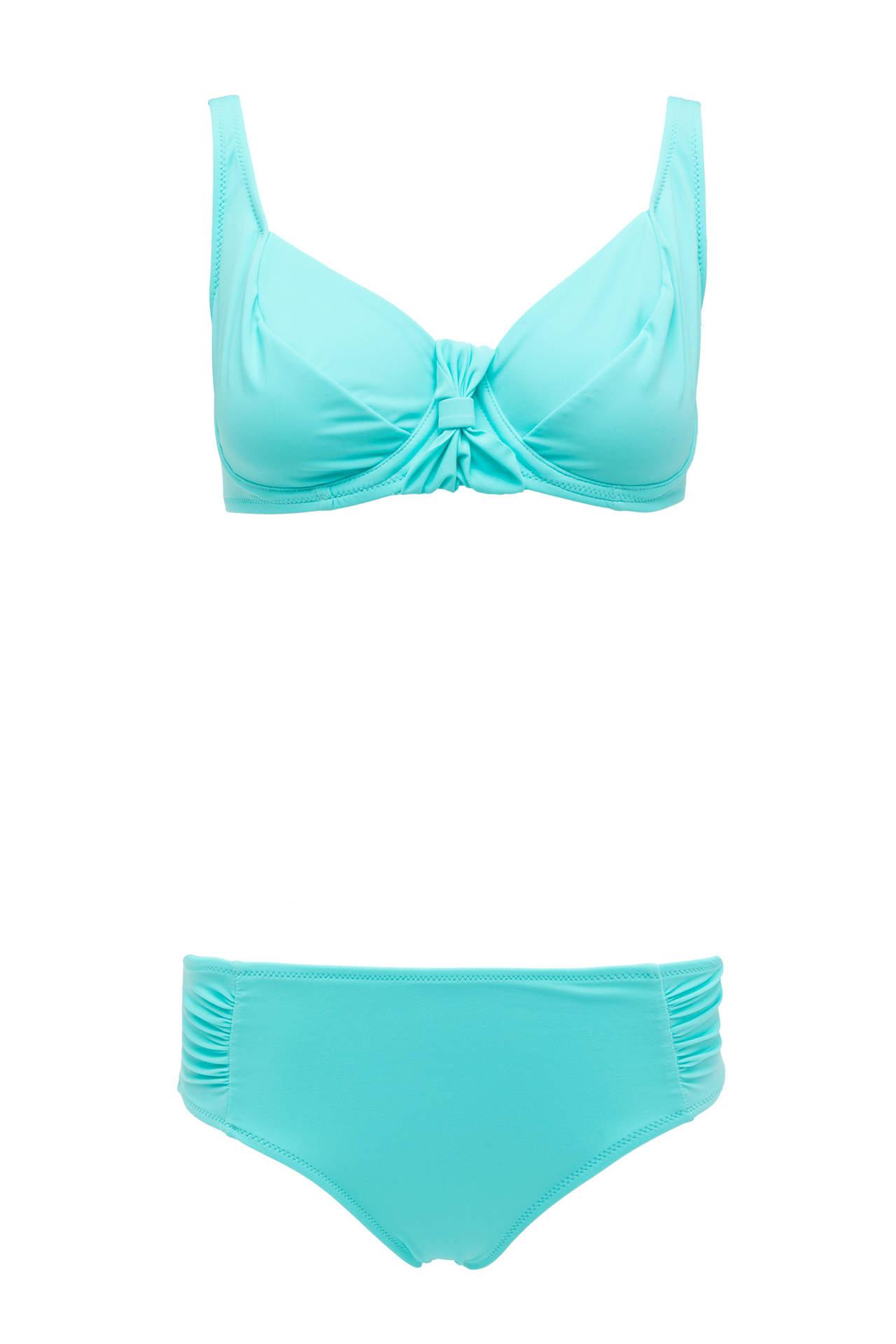 DeFacto Kadın Kurdele Detaylı Düz Renk Bikini Mavi female