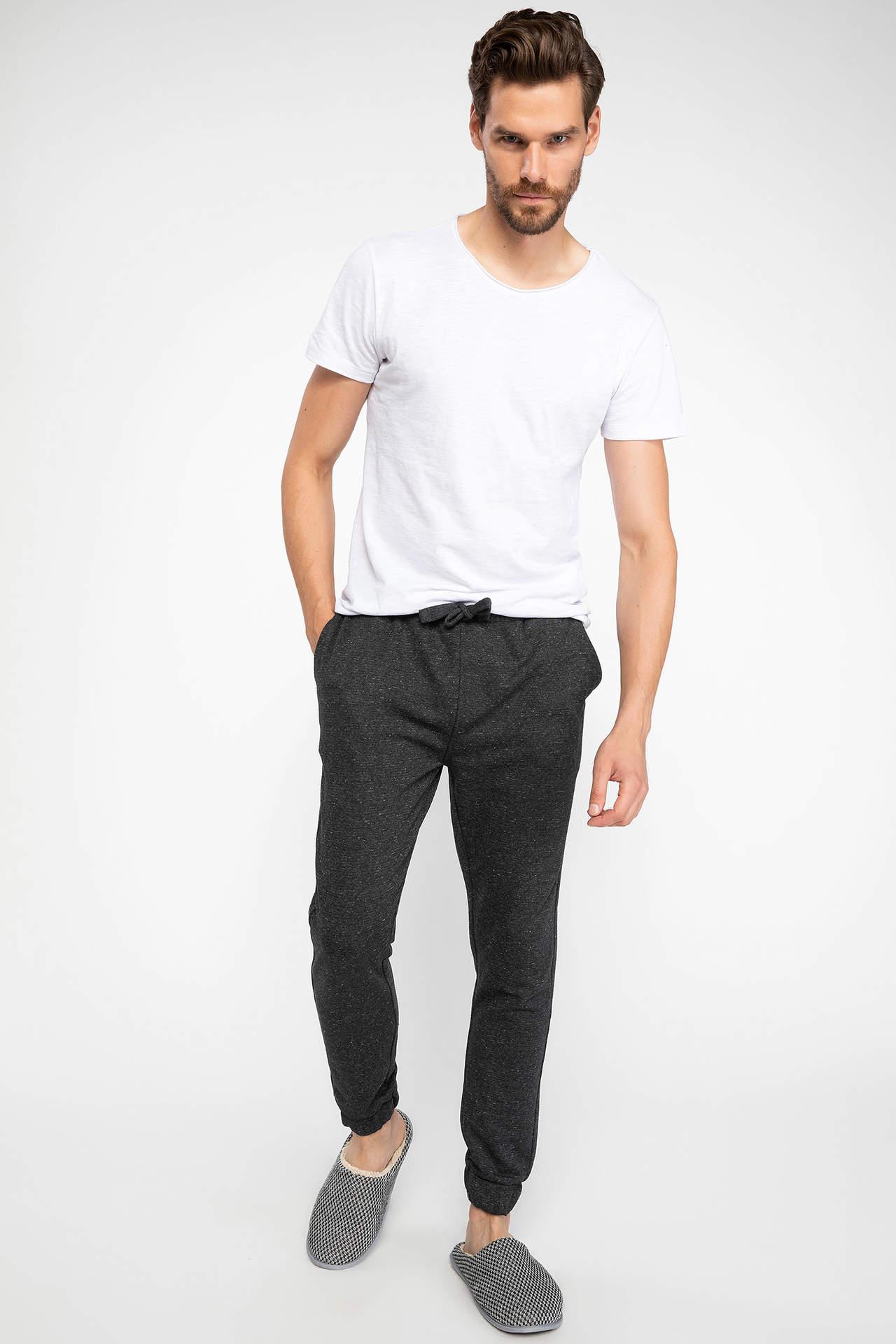 DeFacto Erkek Elastik Bel Pantolon Gri male