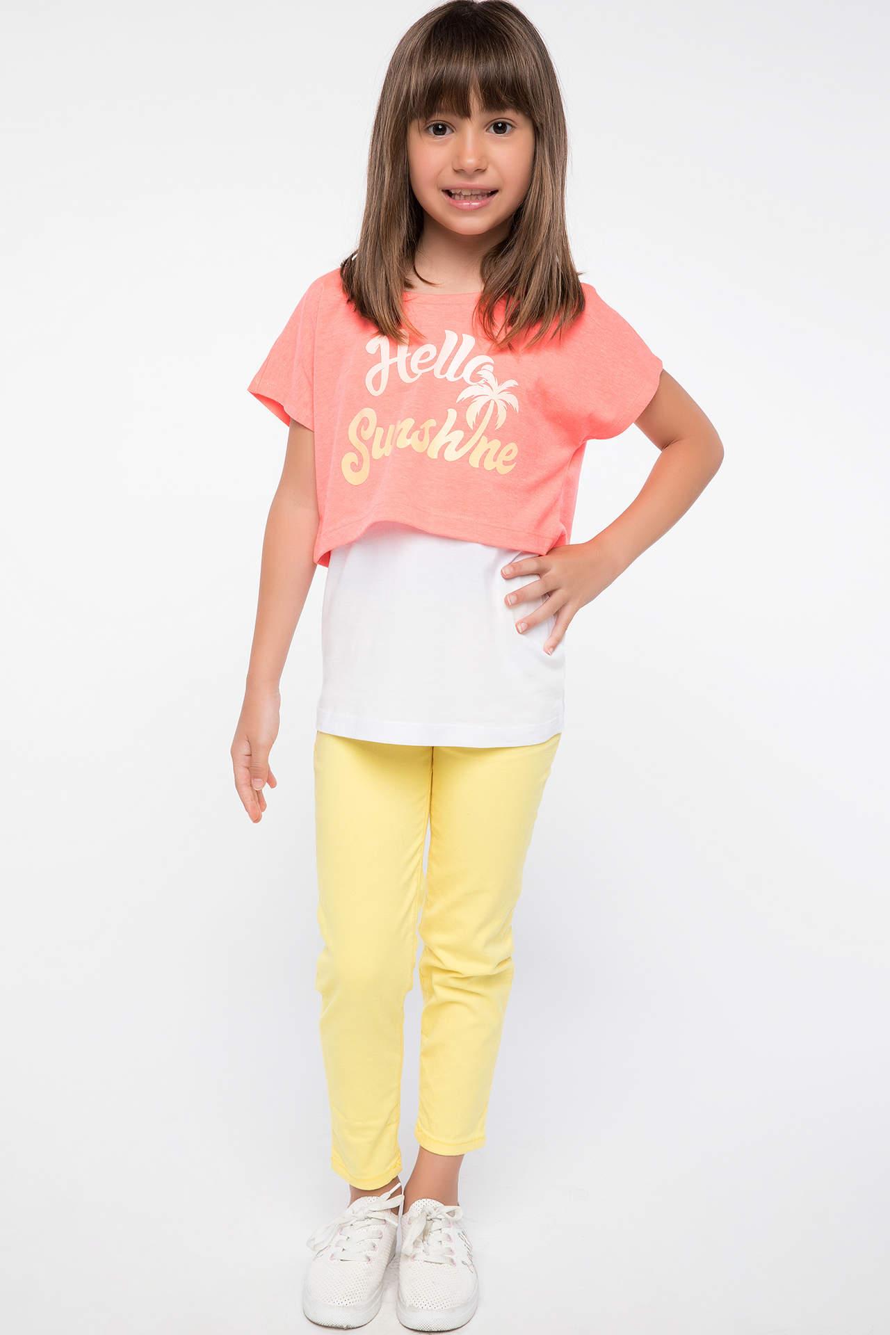 DeFacto Kız Çocuk Skinny Fit Trend Pantolon Sarı female