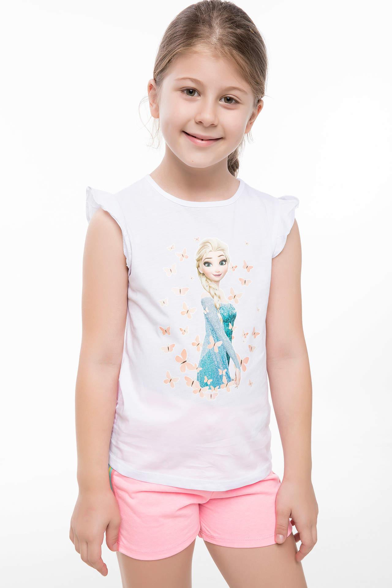 DeFacto Kız Çocuk Lisanslı Baskılı Kolsuz T-shirt Beyaz female