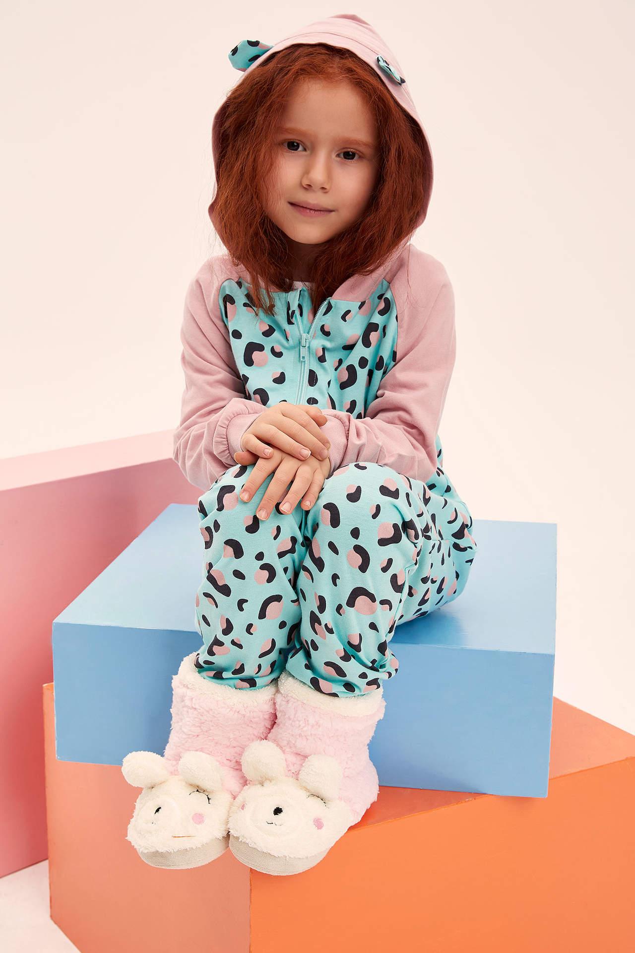 DeFacto Kız Çocuk Kulak Detaylı Kapüşonlu Renk Bloklu Unicorn Desenli Tulum Turkuaz female