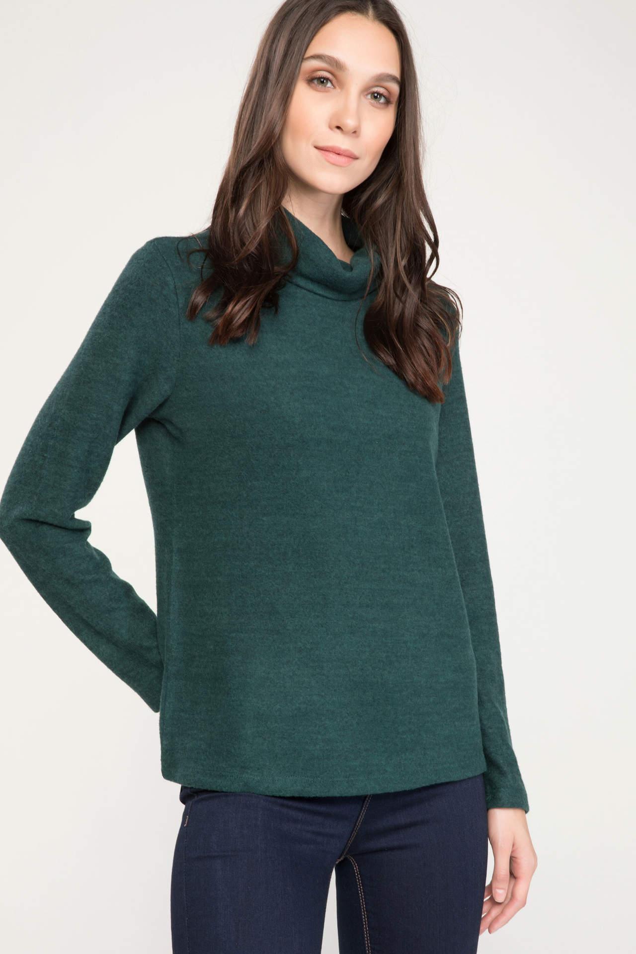 DeFacto Kadın Basic Uzun Kollu Boğazlı T-shirt Yeşil female