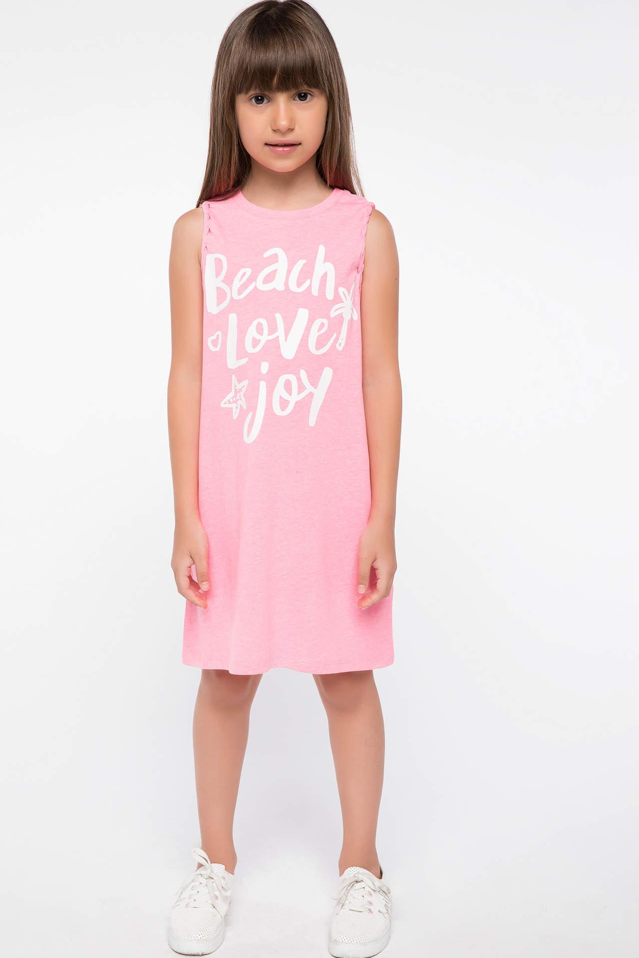 DeFacto Kız Çocuk Omuz Detaylı Yazı Baskılı Elbise Pembe female
