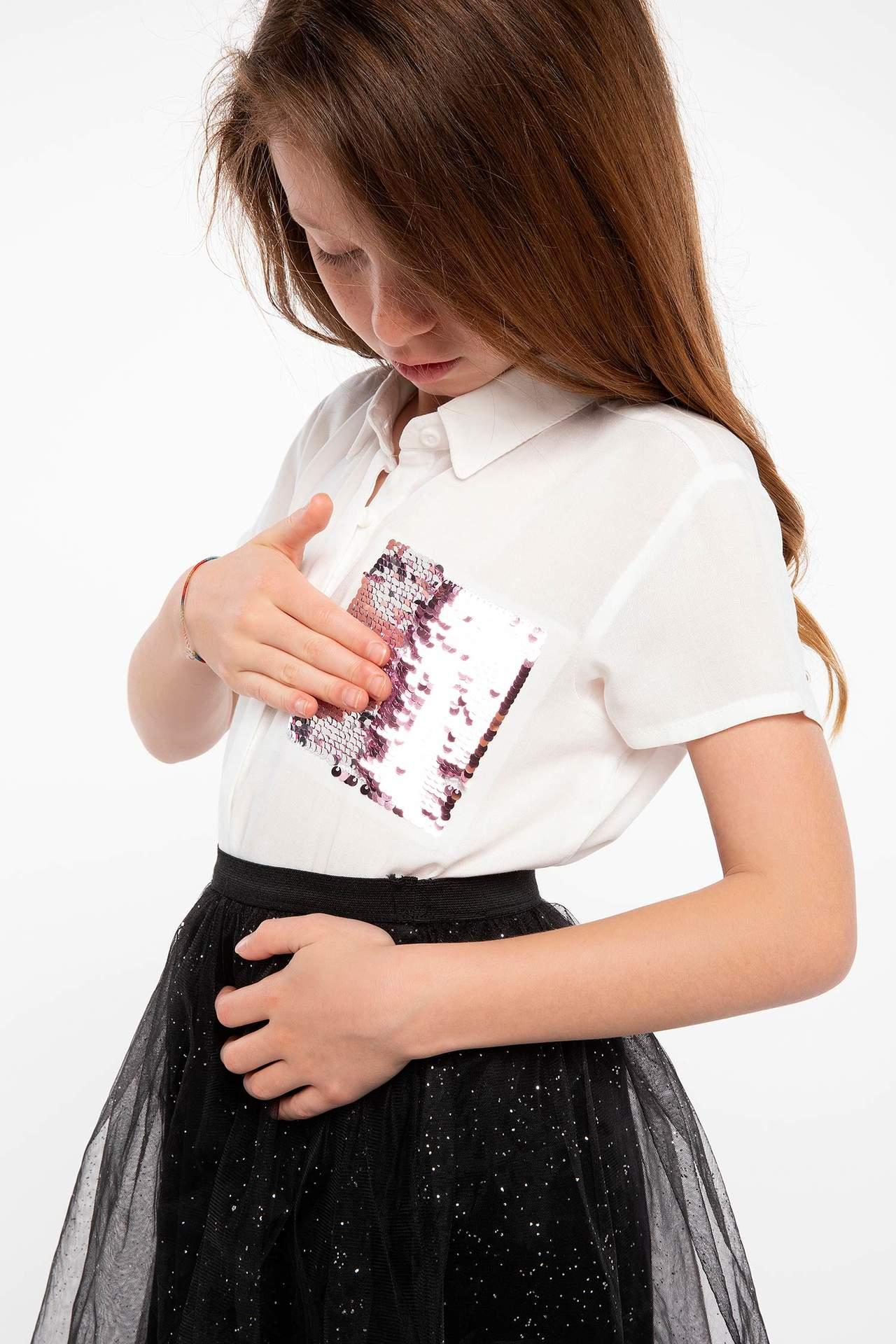 DeFacto Kız Çocuk Kısa Kollu Gömlek Ekru female