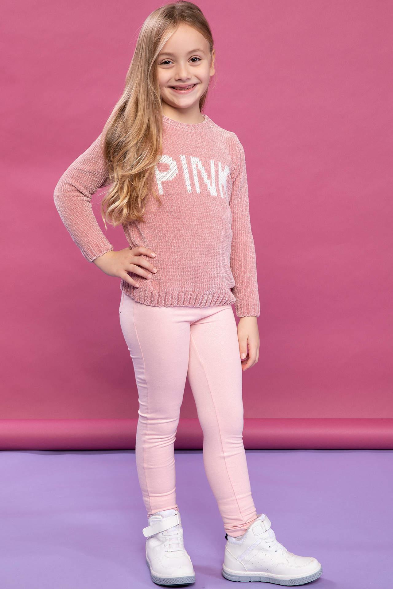 DeFacto Kız Çocuk Elastik Belli Kum Desenli Slim Fit Pantolon Pembe female