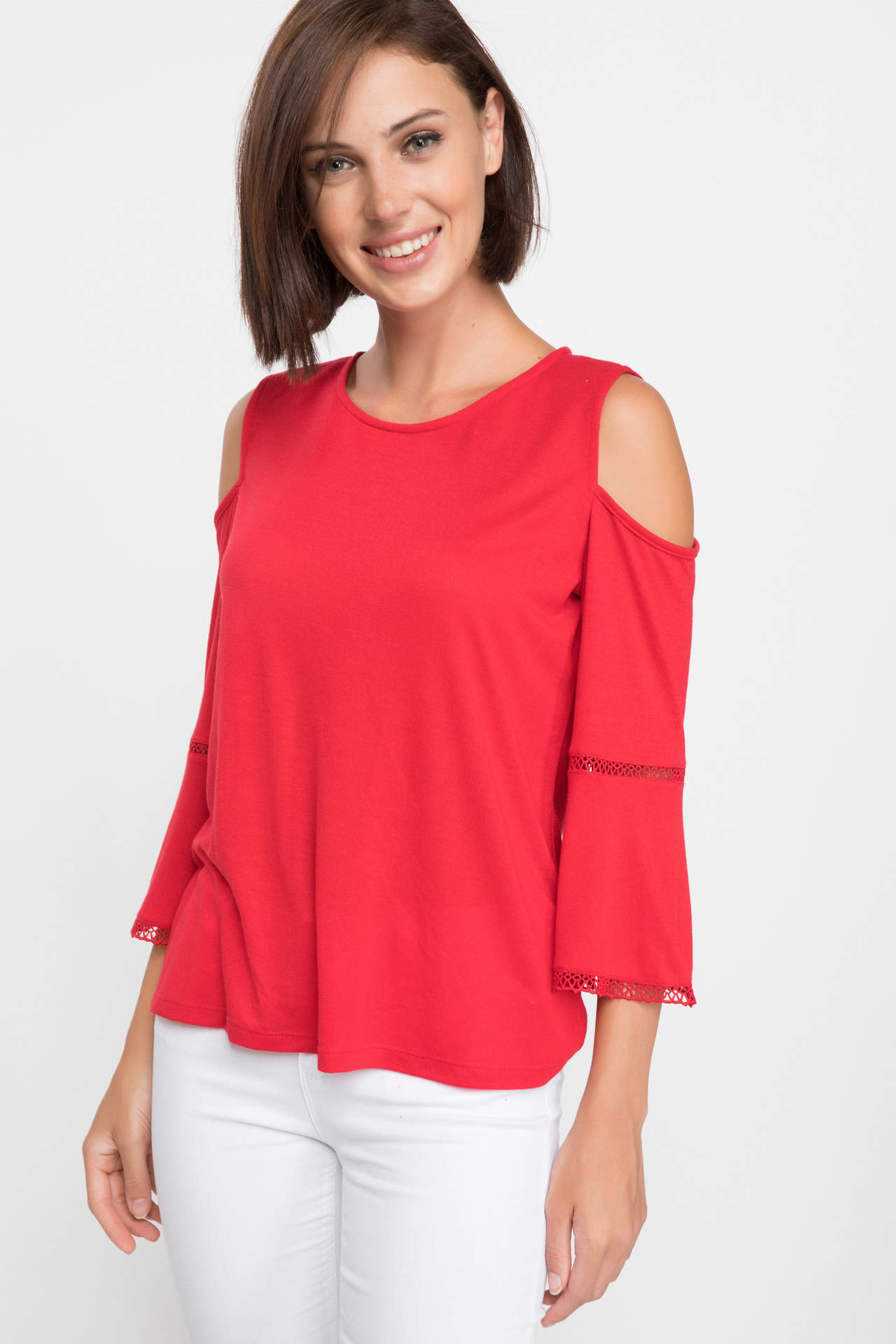 DeFacto Kadın Omuz Dekolteli Uzun Kollu T-shirt Kırmızı female