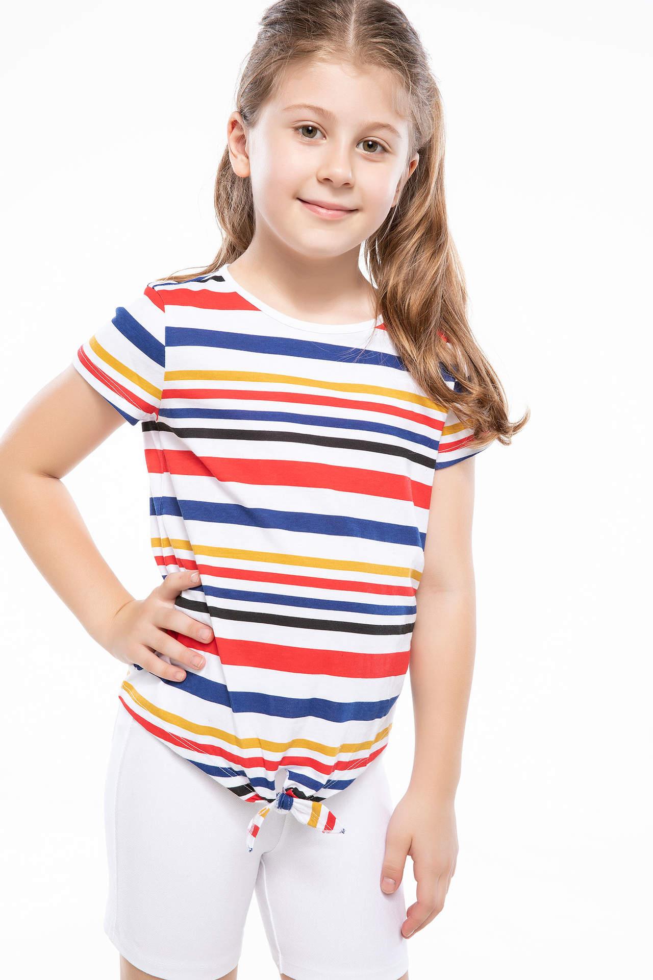 DeFacto Kız Çocuk Bağlama Detaylı Çizgili T-shirt Beyaz female