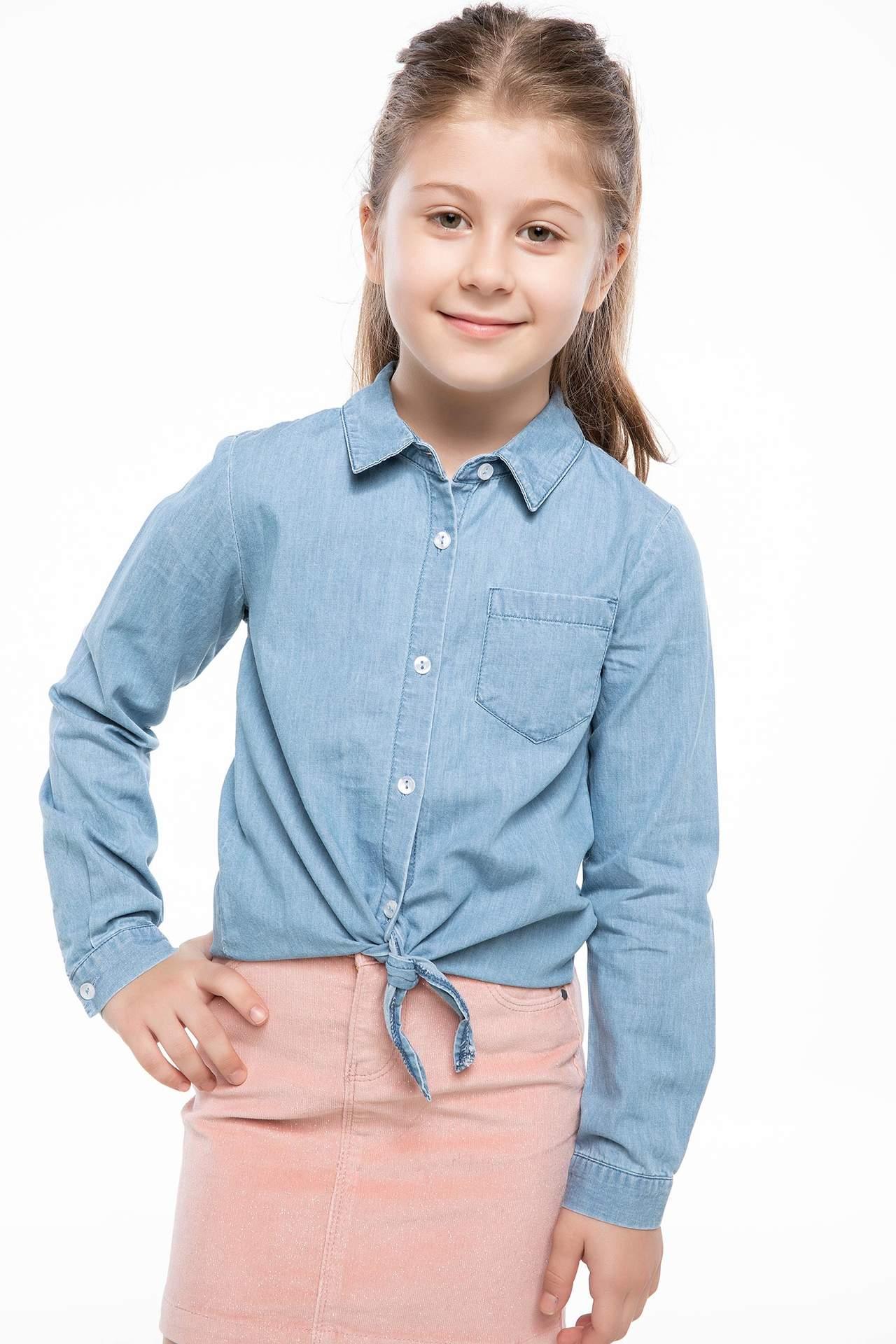 DeFacto Kız Çocuk Jean Gömlek Mavi female