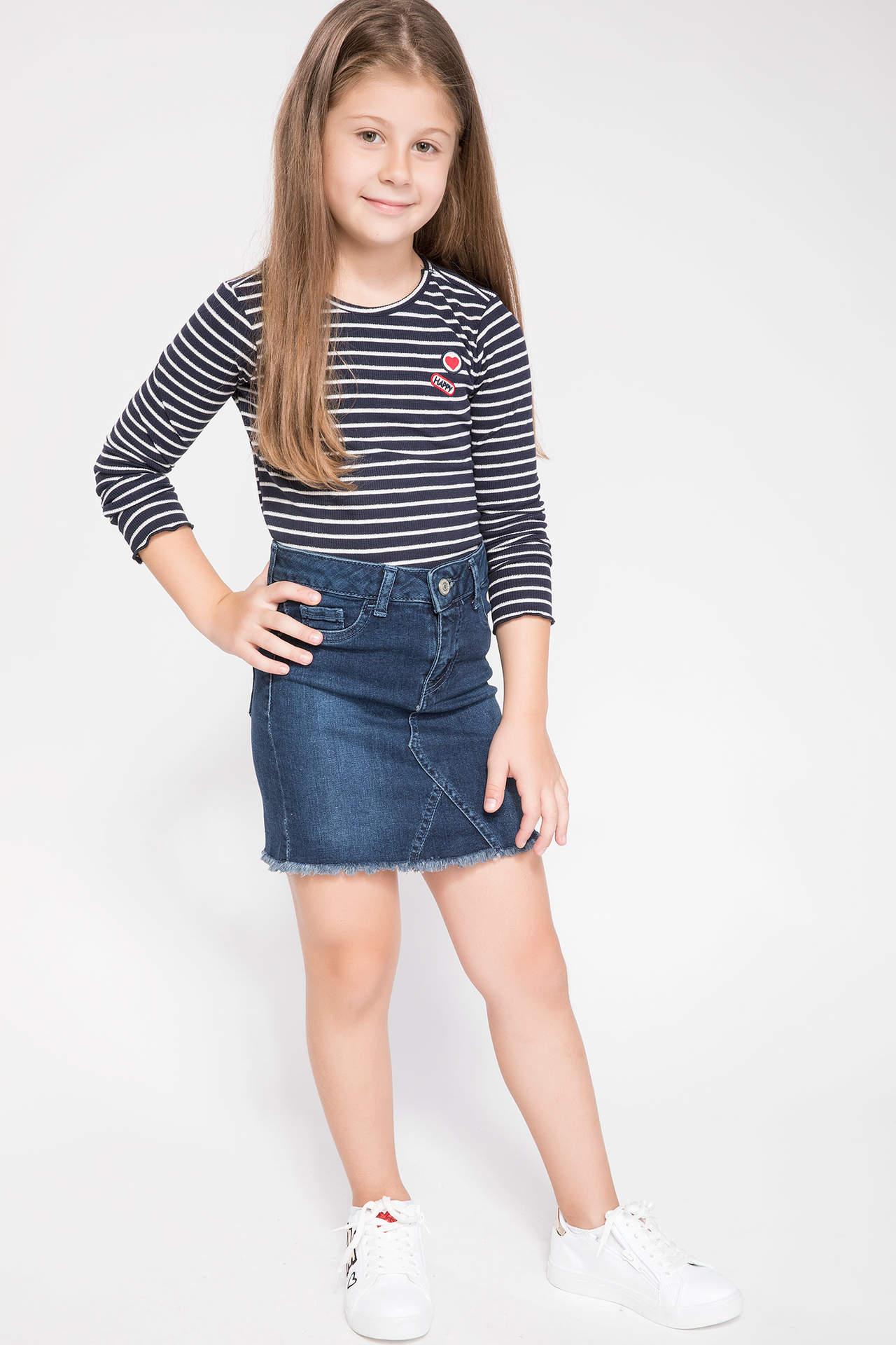 DeFacto Kız Çocuk Mini Jean Etek Mavi female