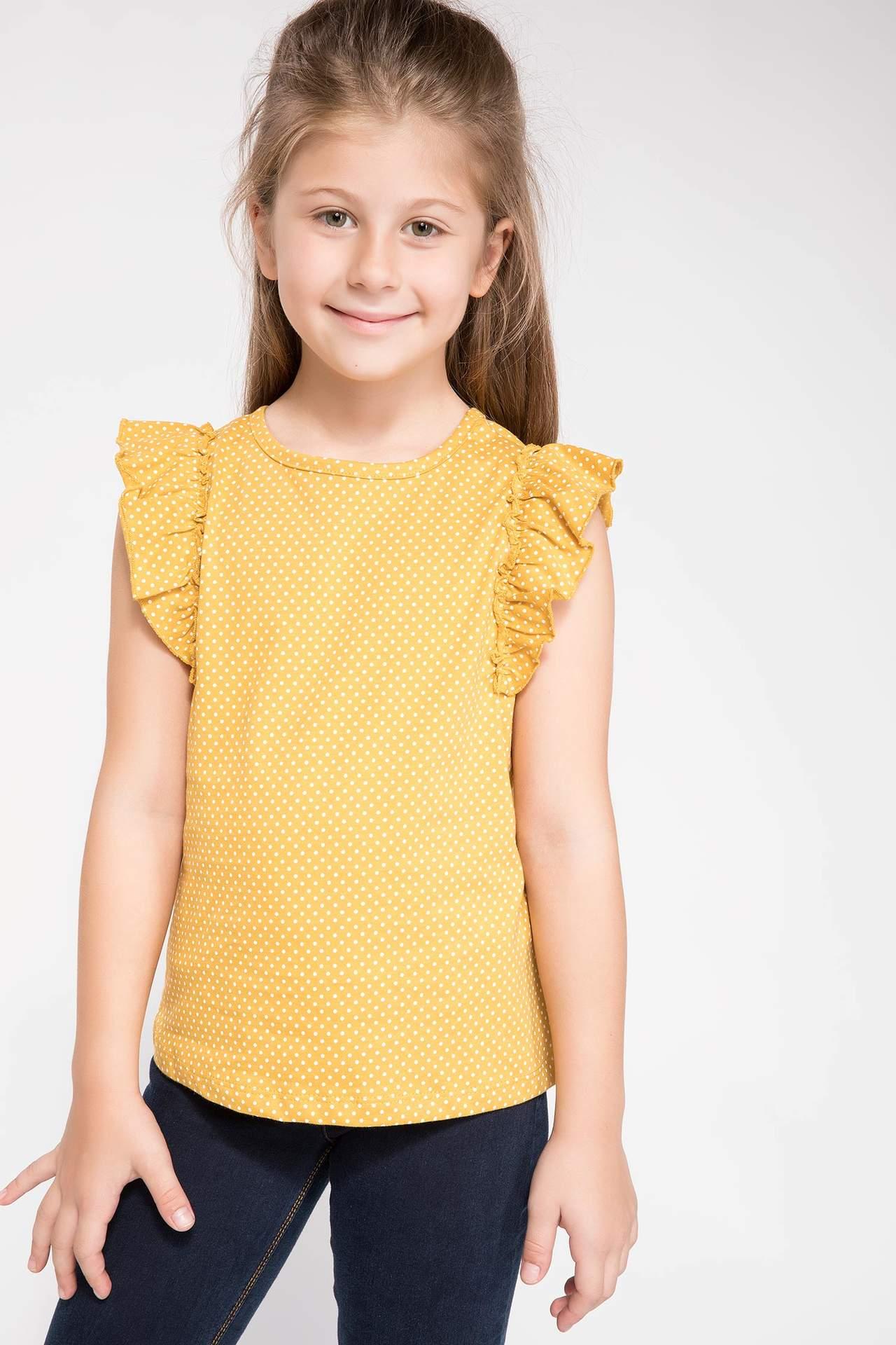DeFacto Kız Çocuk Fırfır Detaylı Puantiyeli T-shirt Sarı female