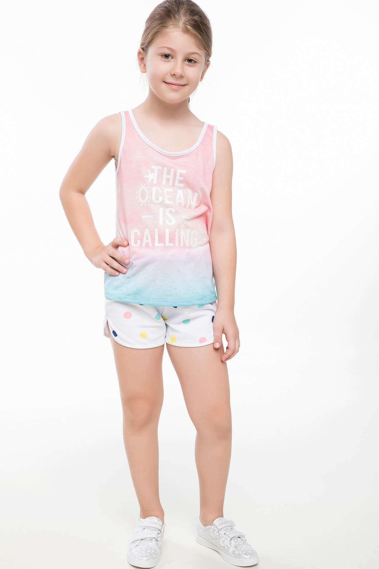 DeFacto Kız Çocuk Puantiye Baskılı Mini Şort Beyaz female