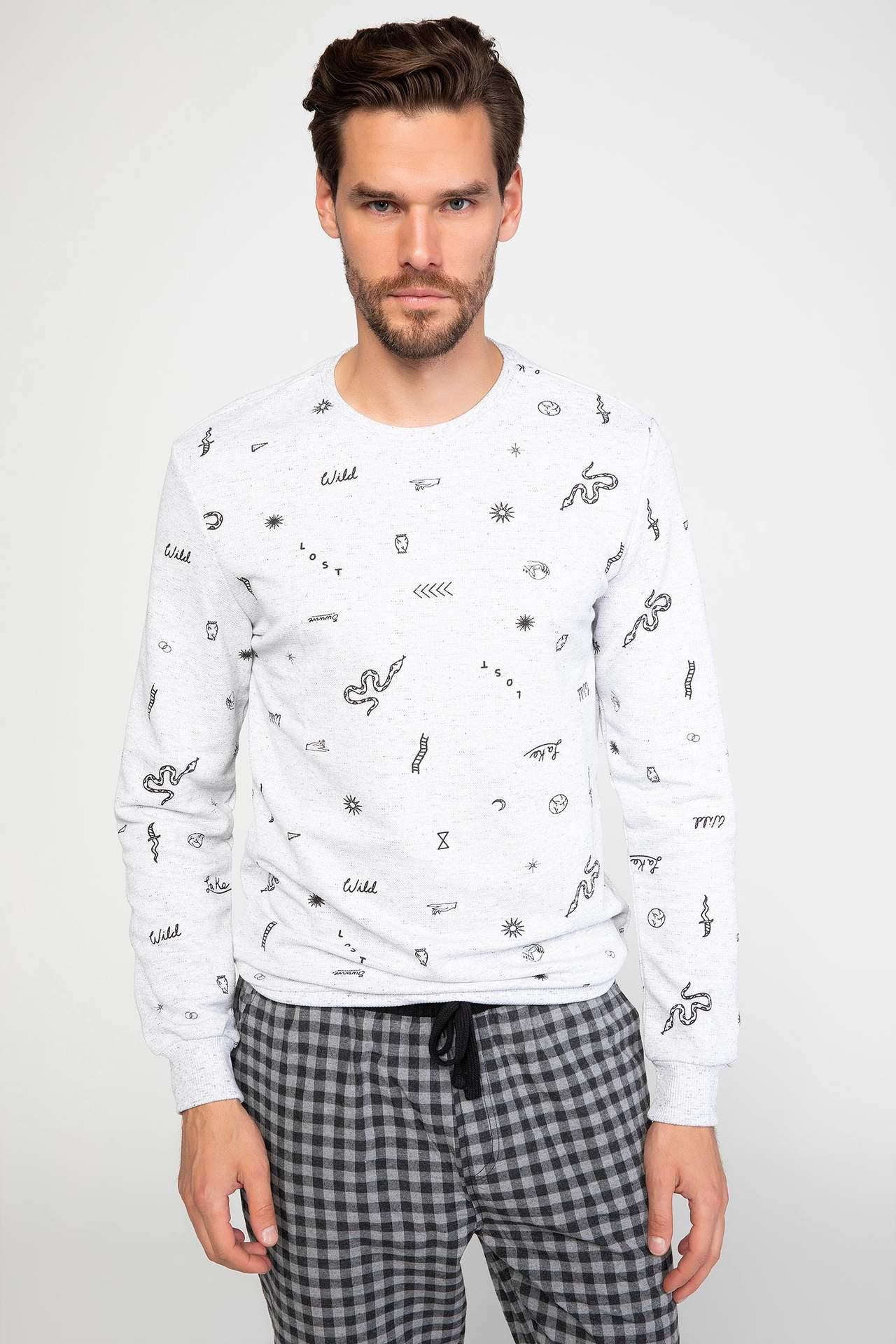 DeFacto Erkek Baskılı Pijama Üstü Gri male