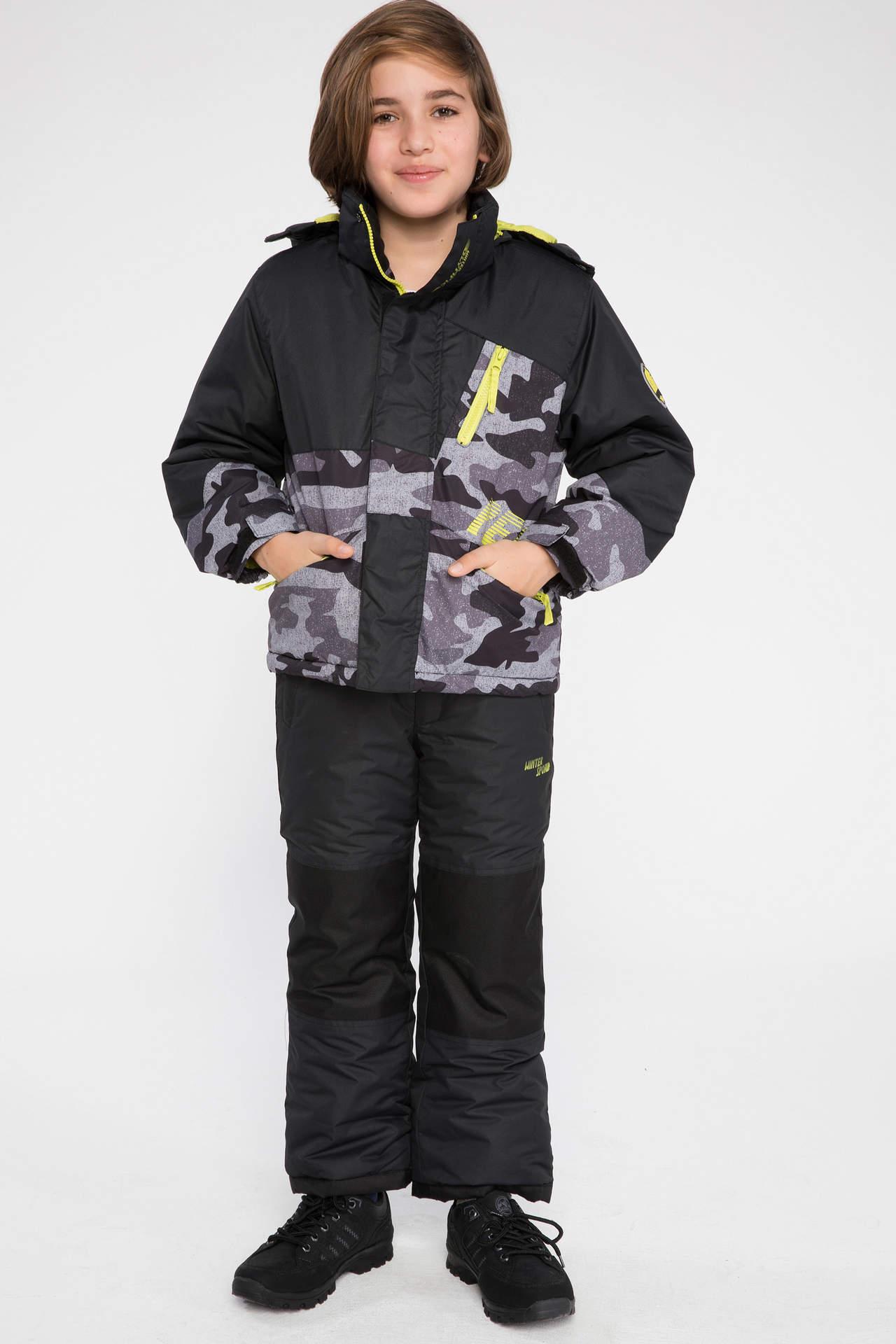 DeFacto Erkek Çocuk Askılı Renk Bloklu Kayak Pantolonu Gri male