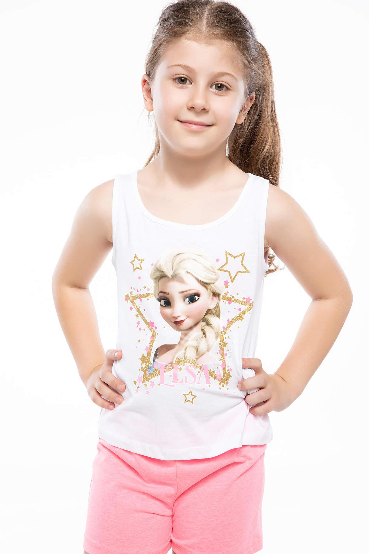 DeFacto Kız Çocuk Frozen Lisanslı Atlet Beyaz female