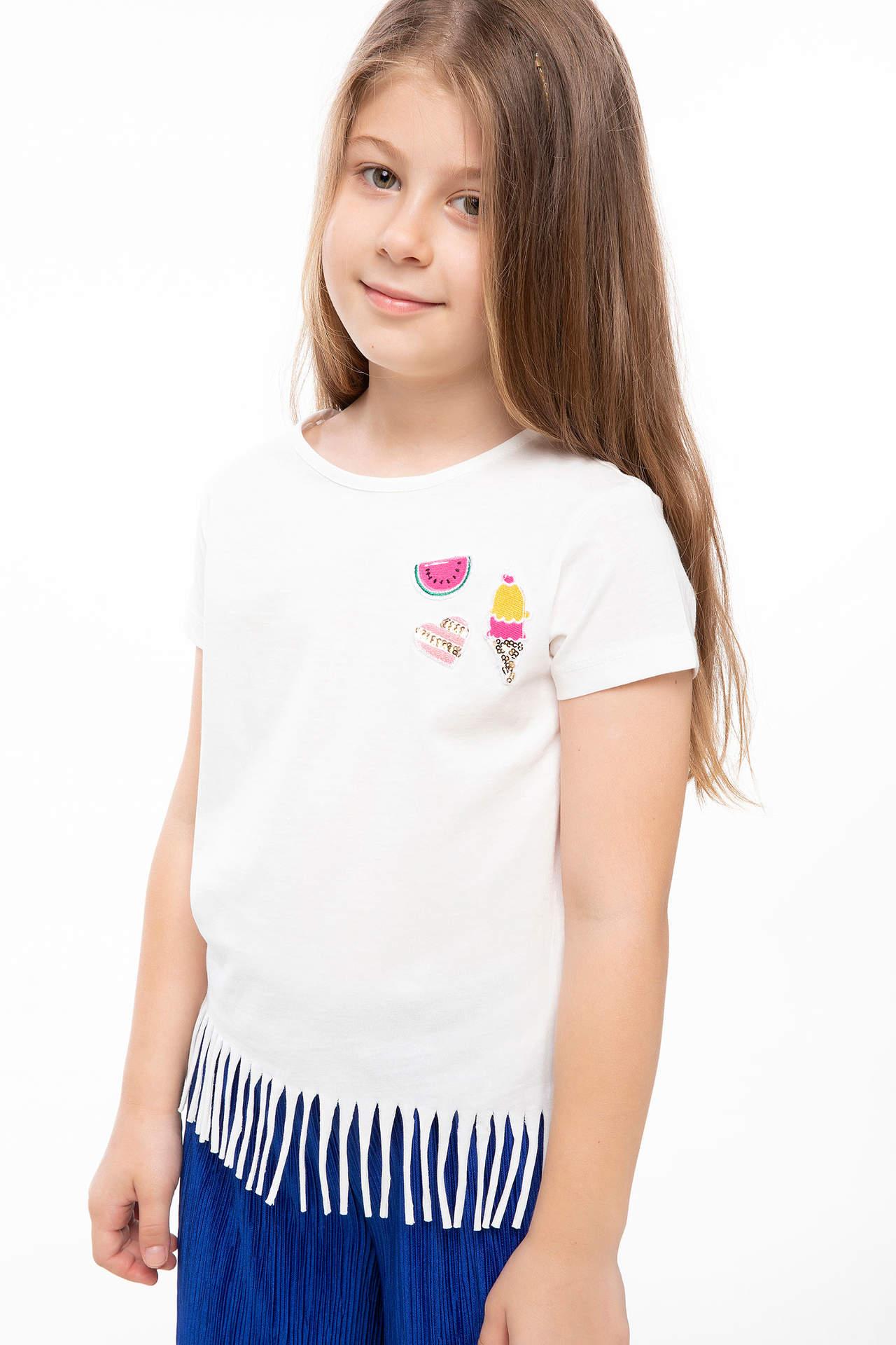 DeFacto Kız Çocuk Püskül Detaylı Baskılı T-shirt Beyaz female