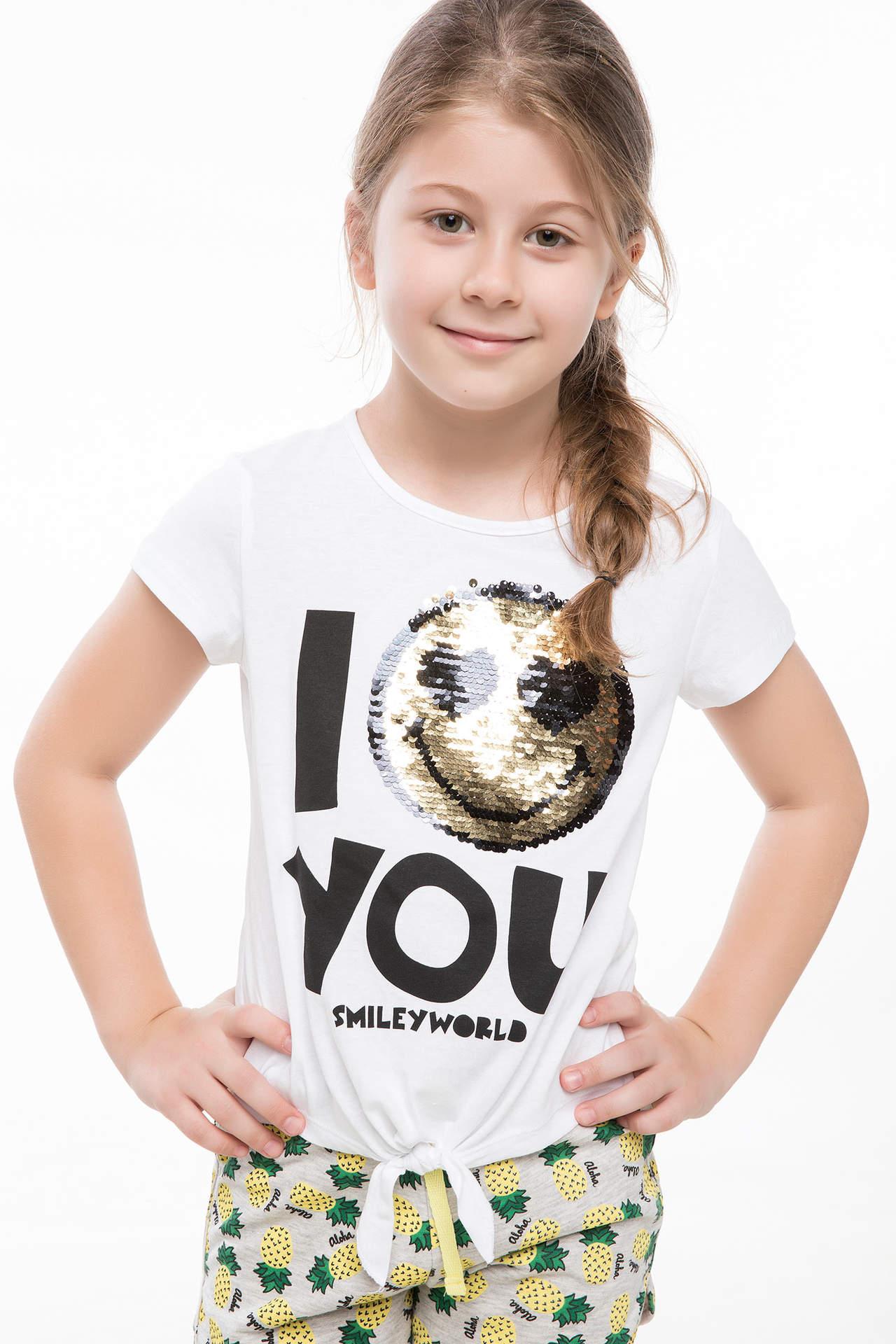 DeFacto Kız Çocuk Emoji Lisanslı Beli Bağlamalı T-shirt Beyaz female