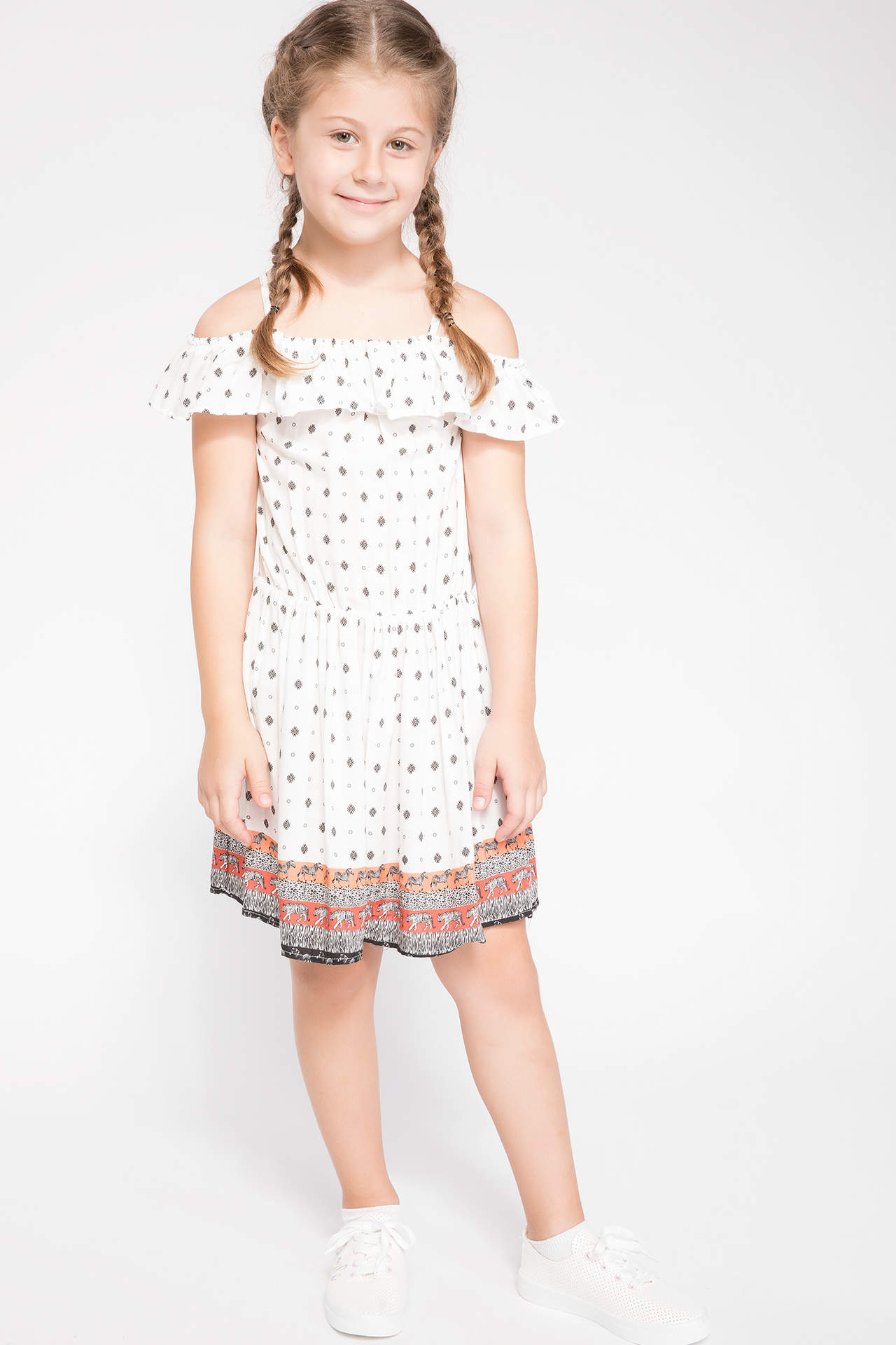 DeFacto Kız Çocuk Baskılı Elbise Ekru female