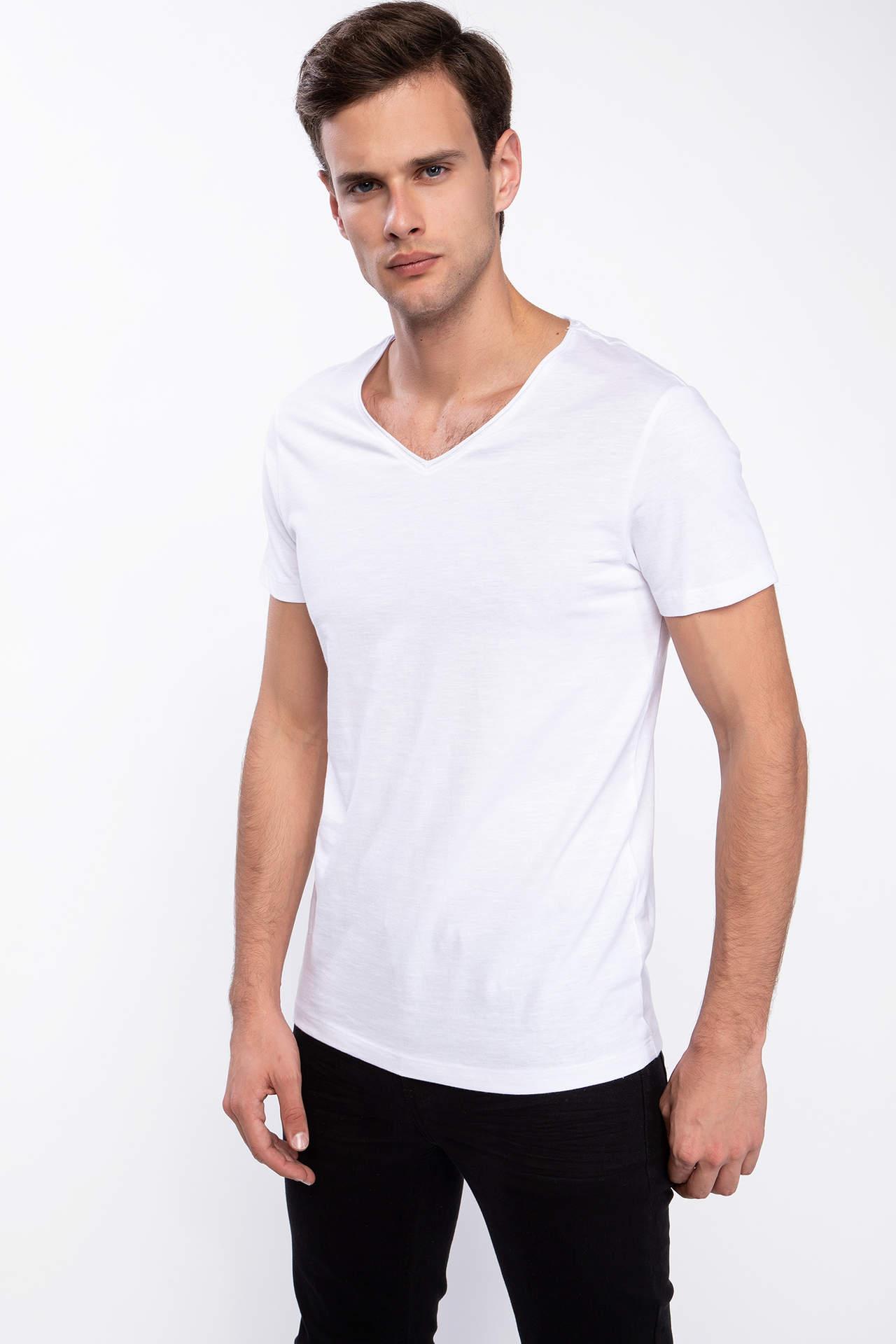DeFacto Erkek V Yaka Slim Fit Basic Pamuklu Tişört Beyaz male