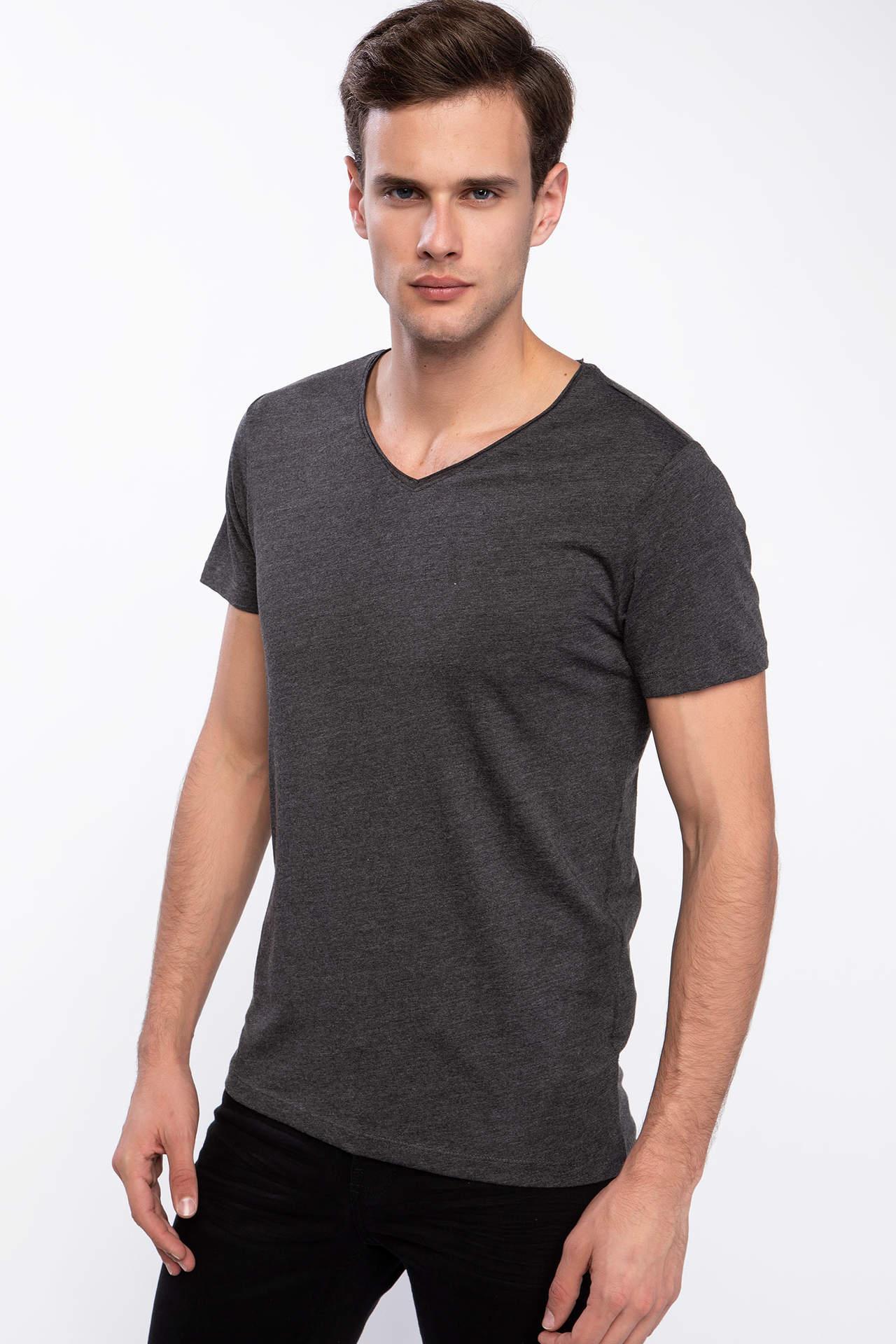 DeFacto Erkek V Yaka Slim Fit T-shirt Gri male