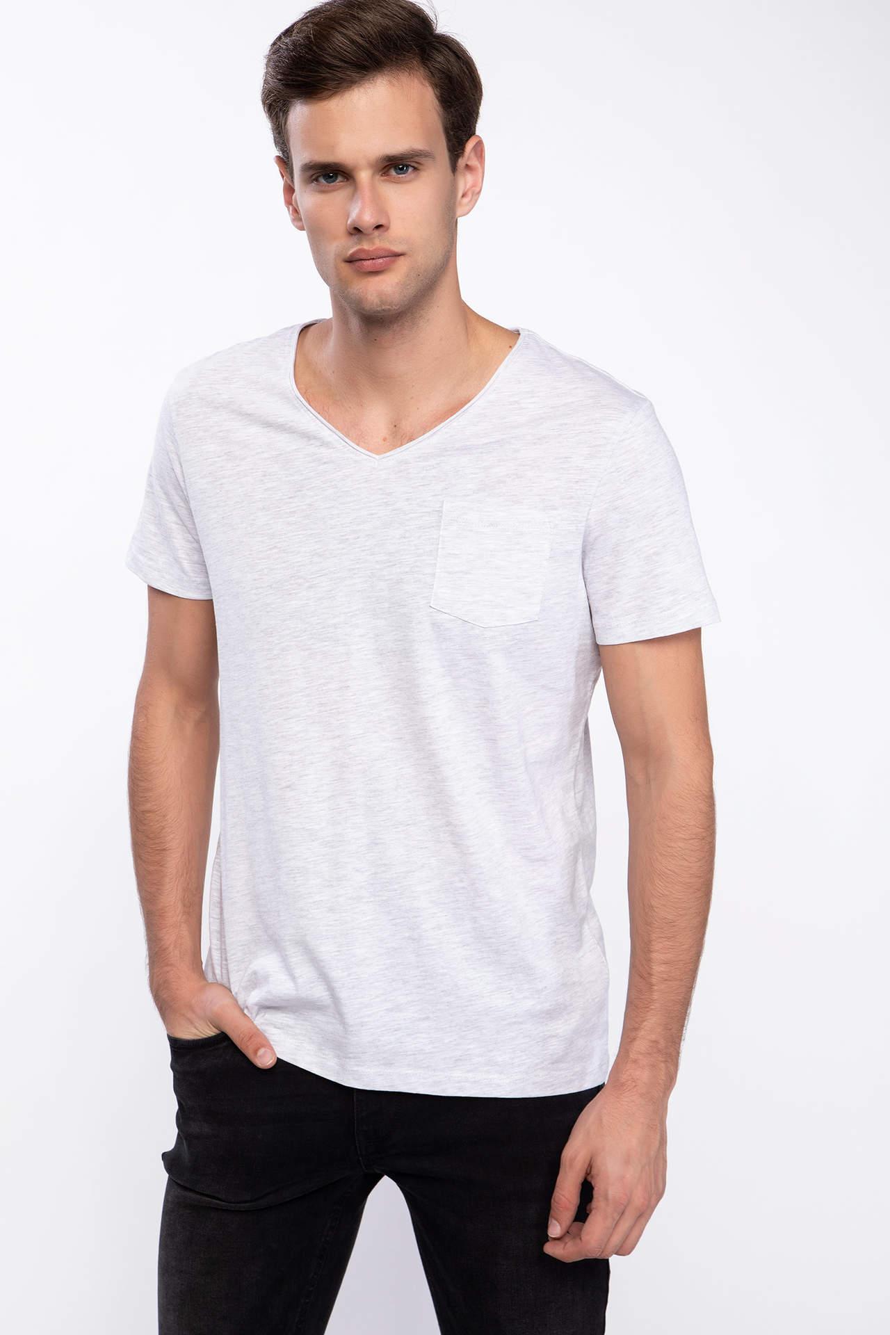 DeFacto Erkek Tek Cepli V Yaka Slim Fit T-shirt Gri male