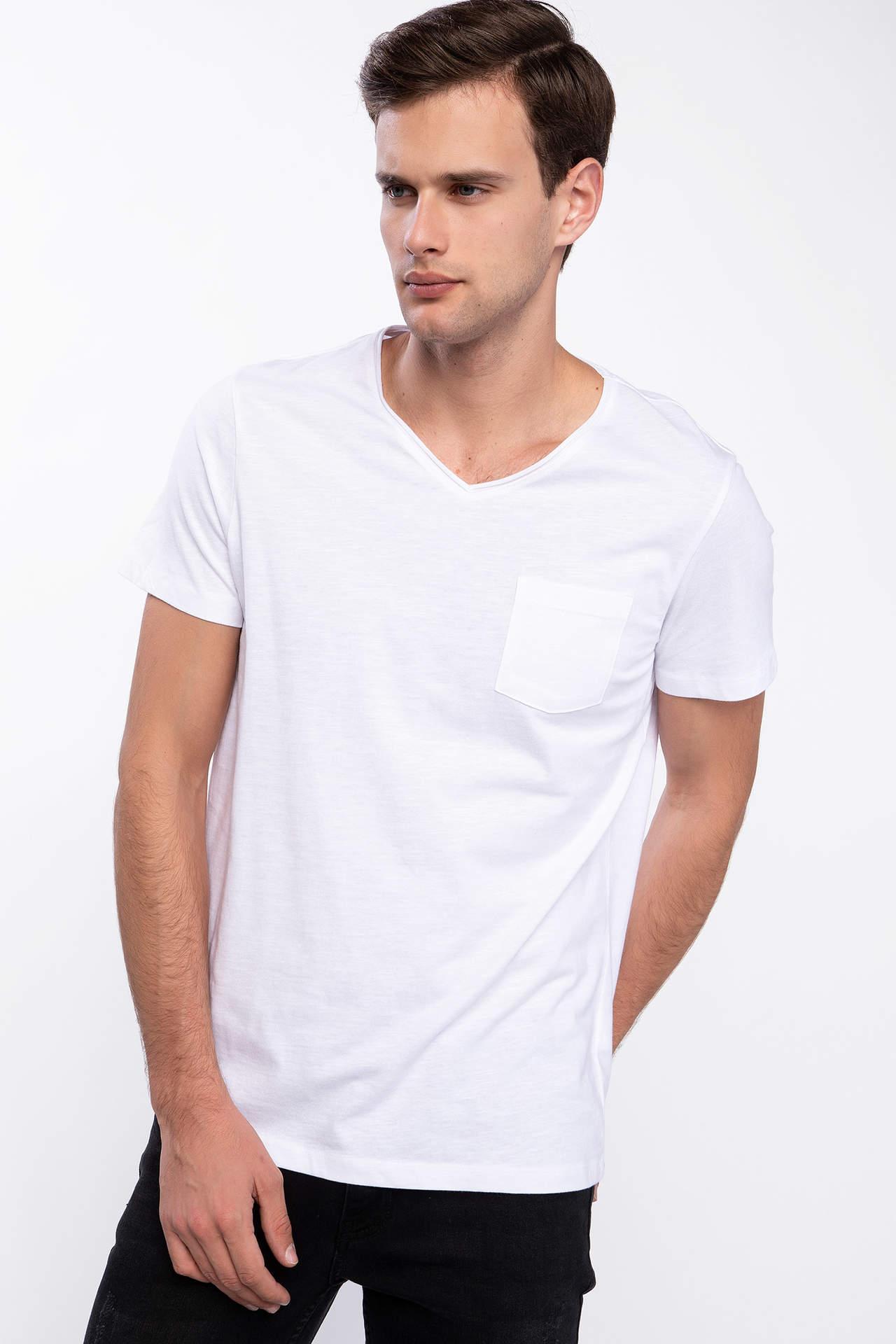 DeFacto Erkek Tek Cepli V Yaka Slim Fit T-shirt Beyaz male
