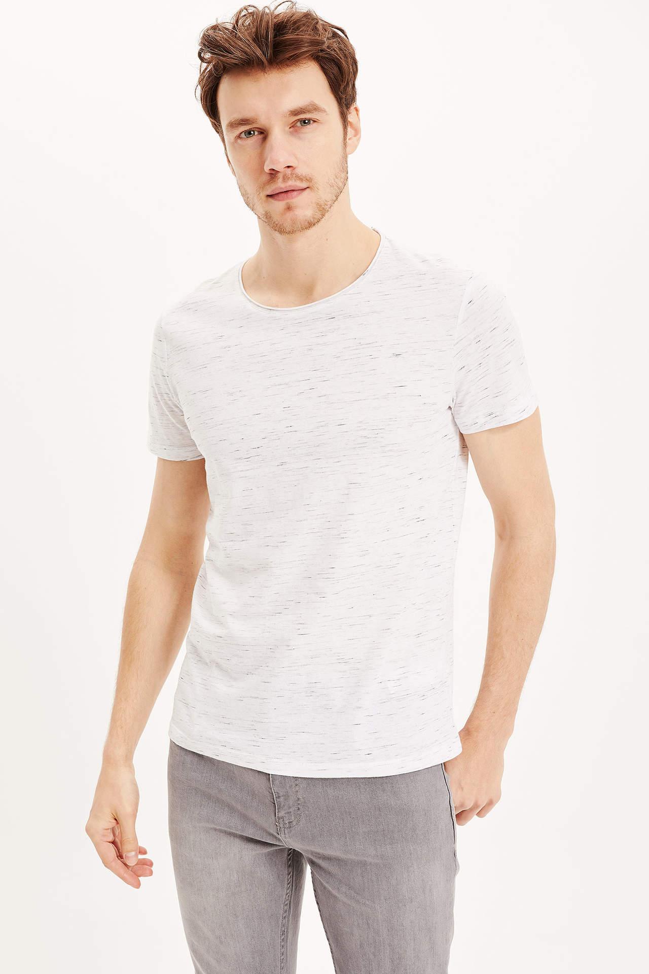 DeFacto Erkek Slim Fit T-Shirt Beyaz male