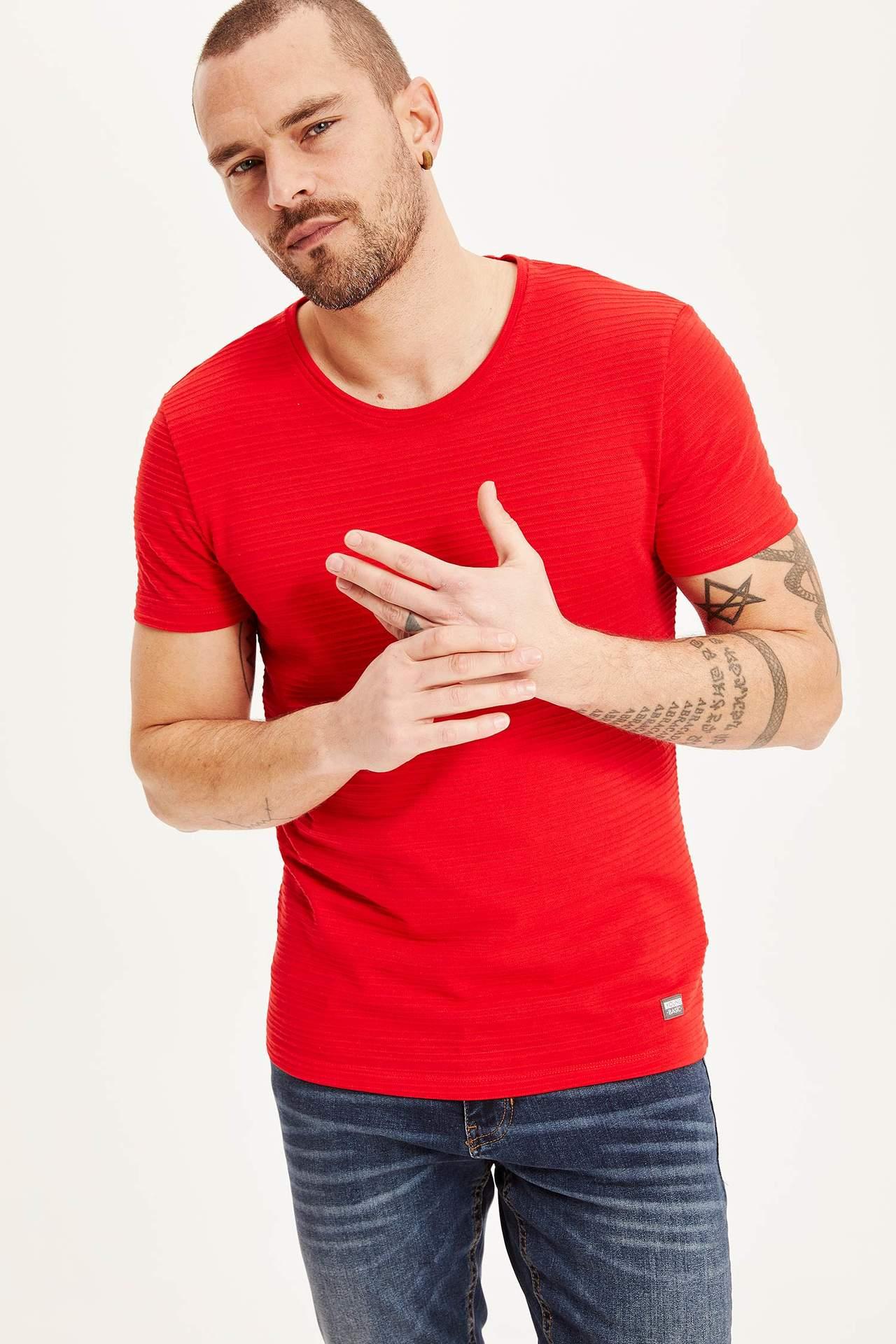 DeFacto Erkek Slim Fit Basic Body Kırmızı male