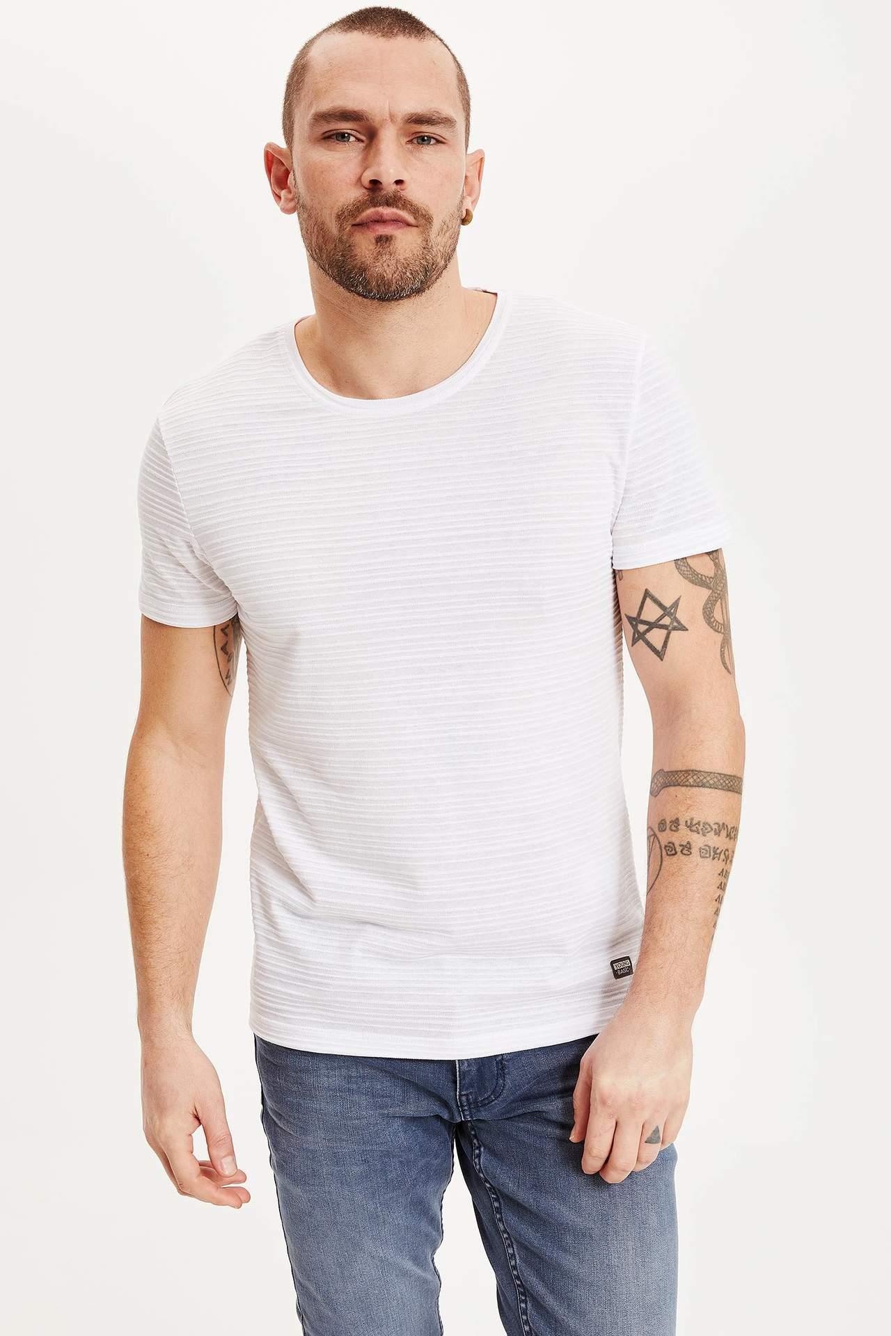 DeFacto Erkek Slim Fit Basic Body Beyaz male