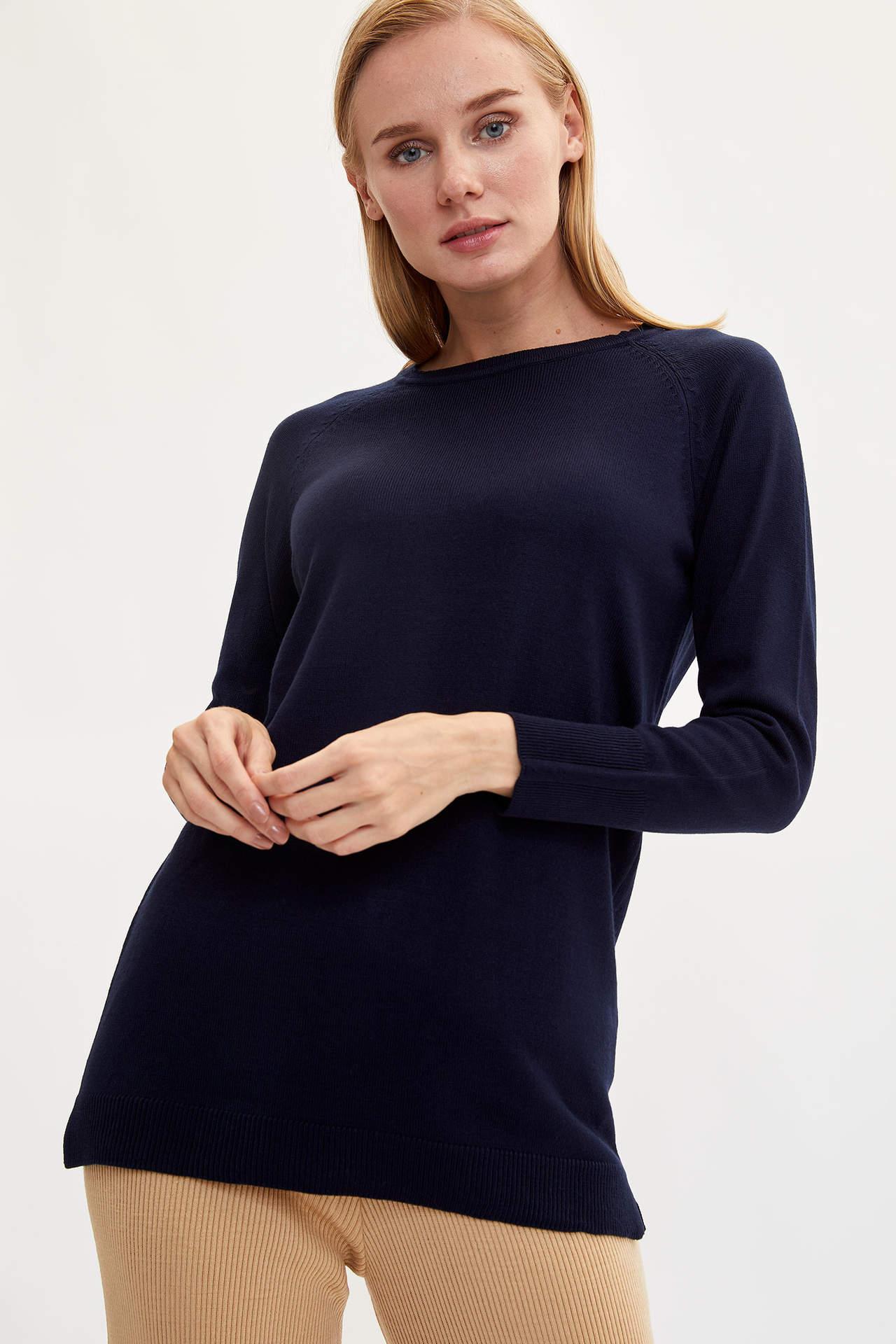 DeFacto Kadın Kolu Düğme Detaylı Triko Tunik Lacivert female