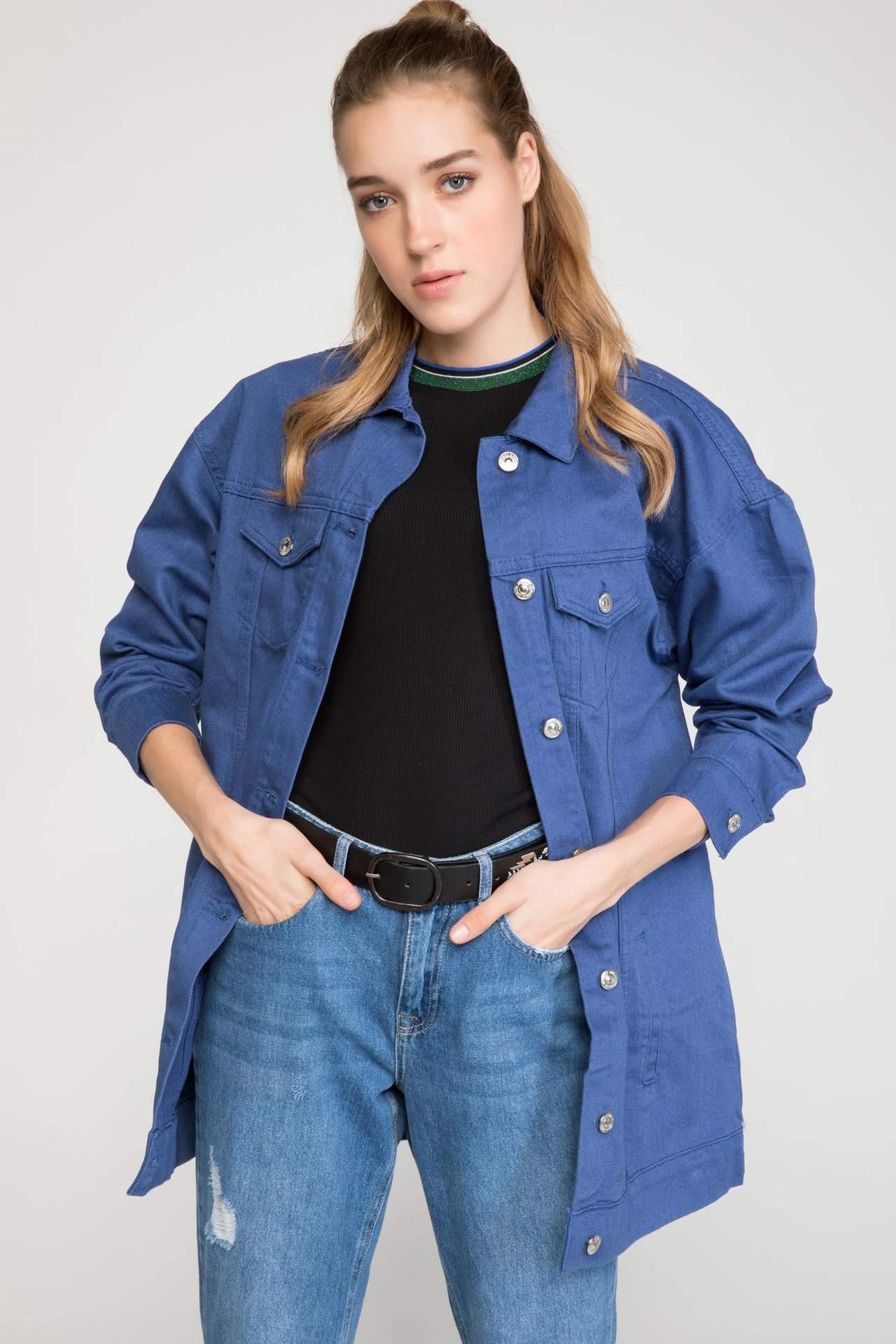 DeFacto Kadın Düğmeli Jean Ceket Mavi female
