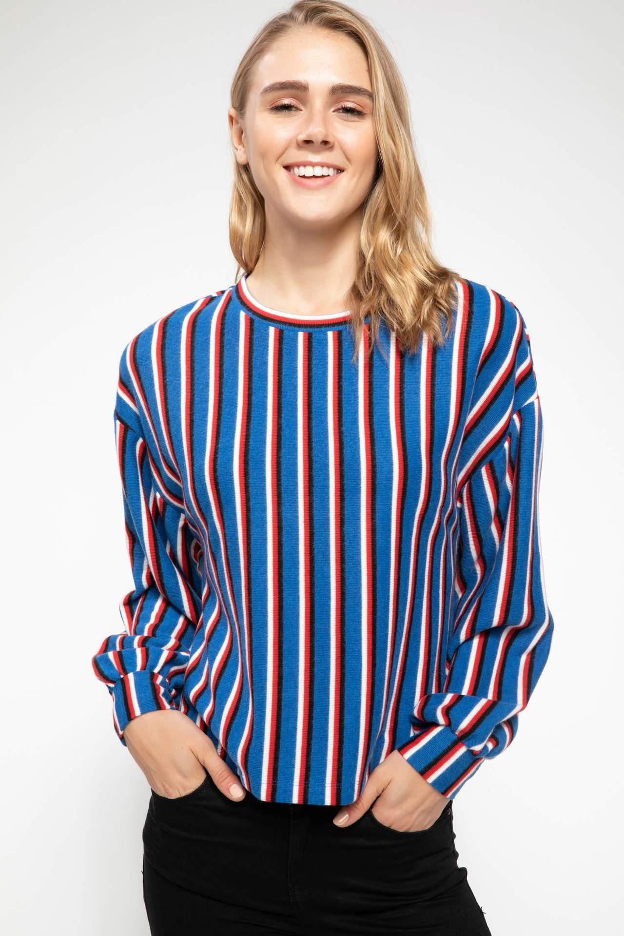 DeFacto Kadın Uzun Kollu Bisiklet Yaka Çizgili T-shirt Mavi female