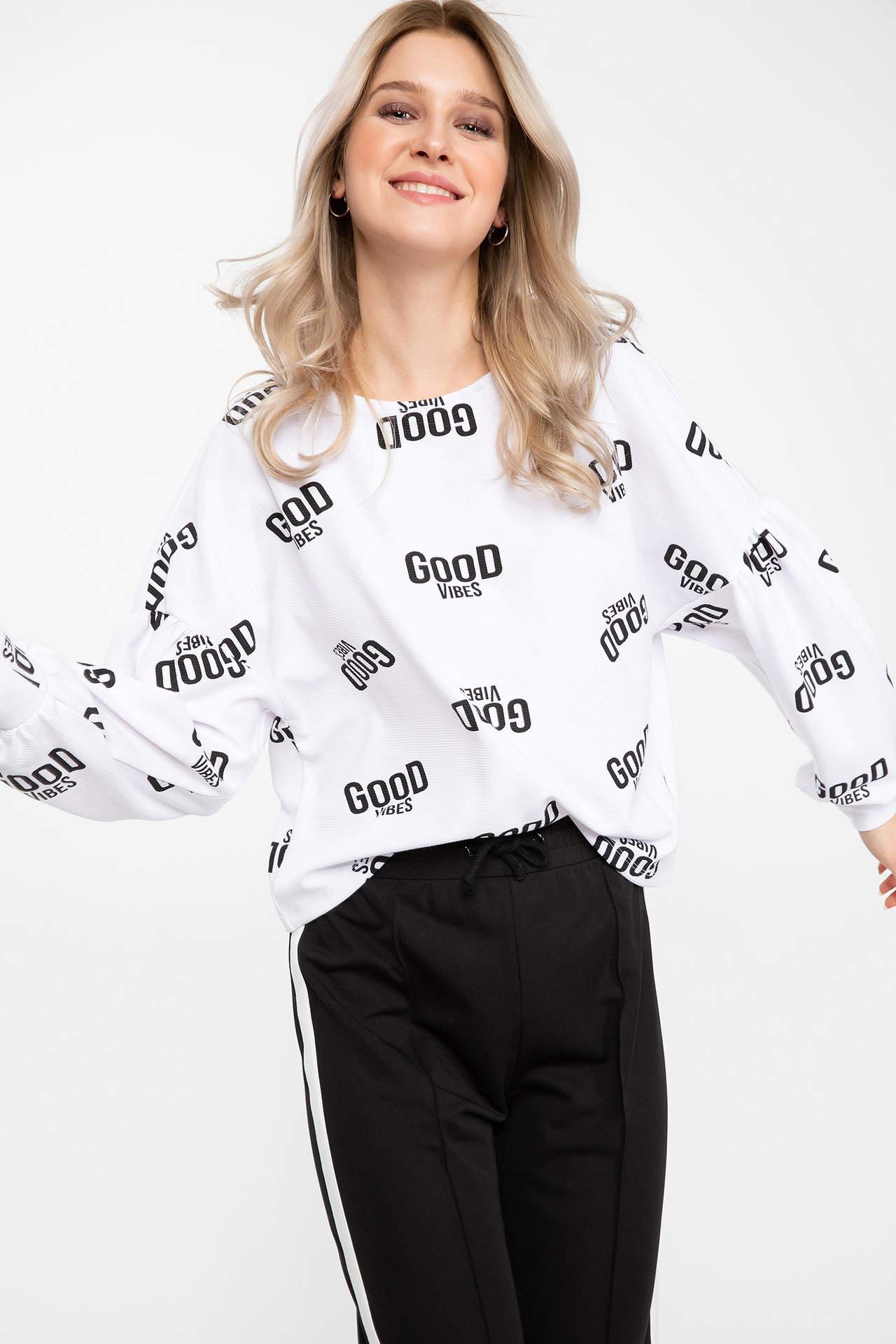 DeFacto Kadın Slogan Baskılı Uzun Kollu T-shirt Beyaz female