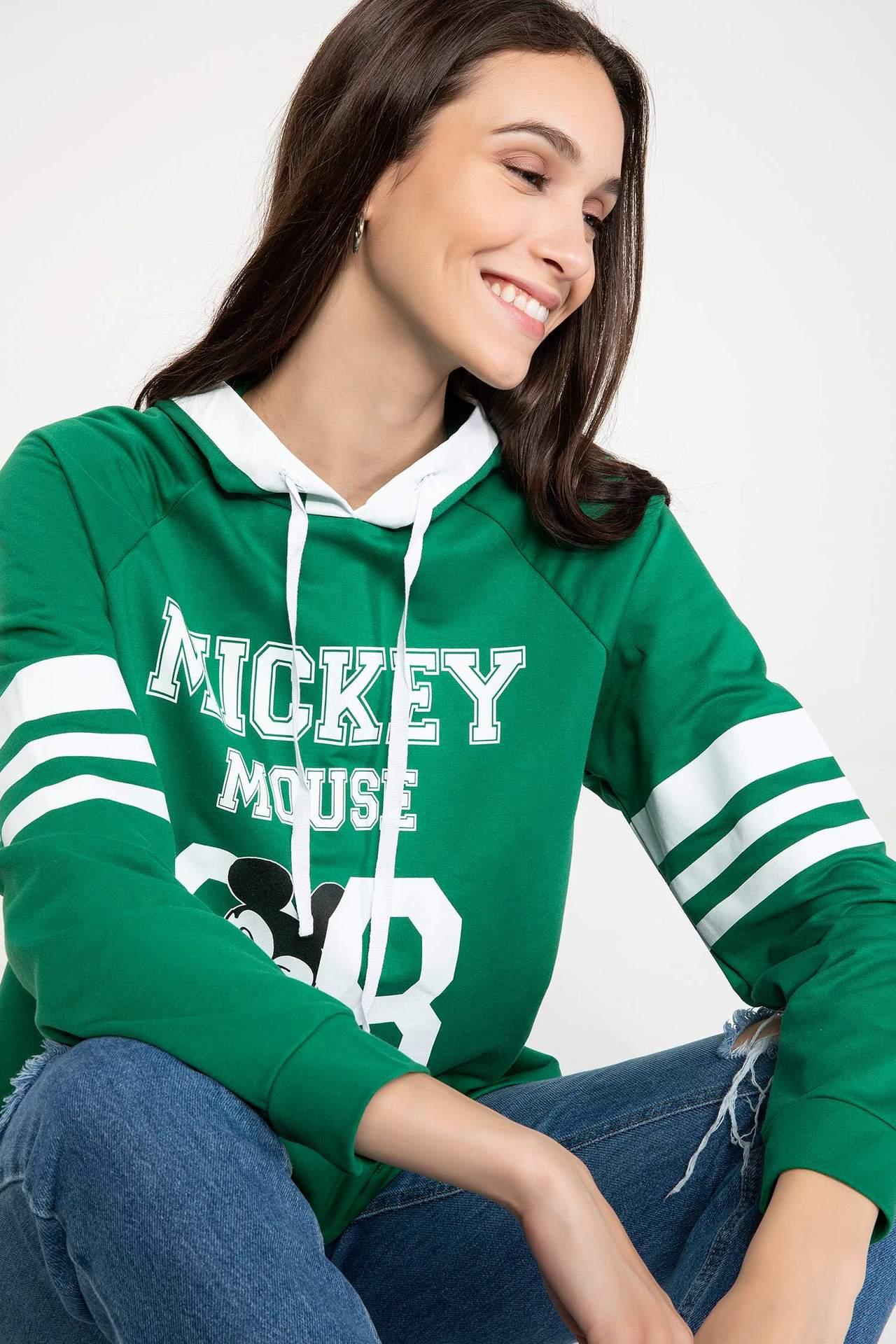 DeFacto Kadın Mickey Mouse Lisanslı Sweatshirt Yeşil female
