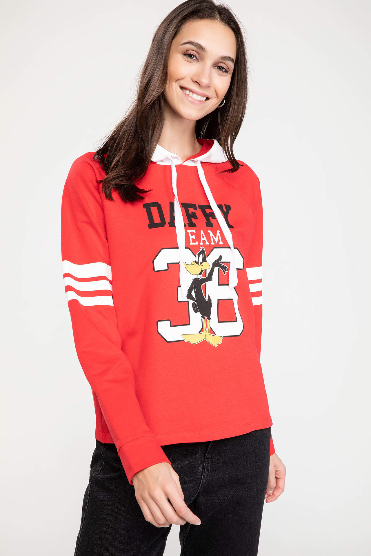 DeFacto Kadın Daffy Duck Lisanslı Kapüşonlu Sweatshirt Kırmızı female
