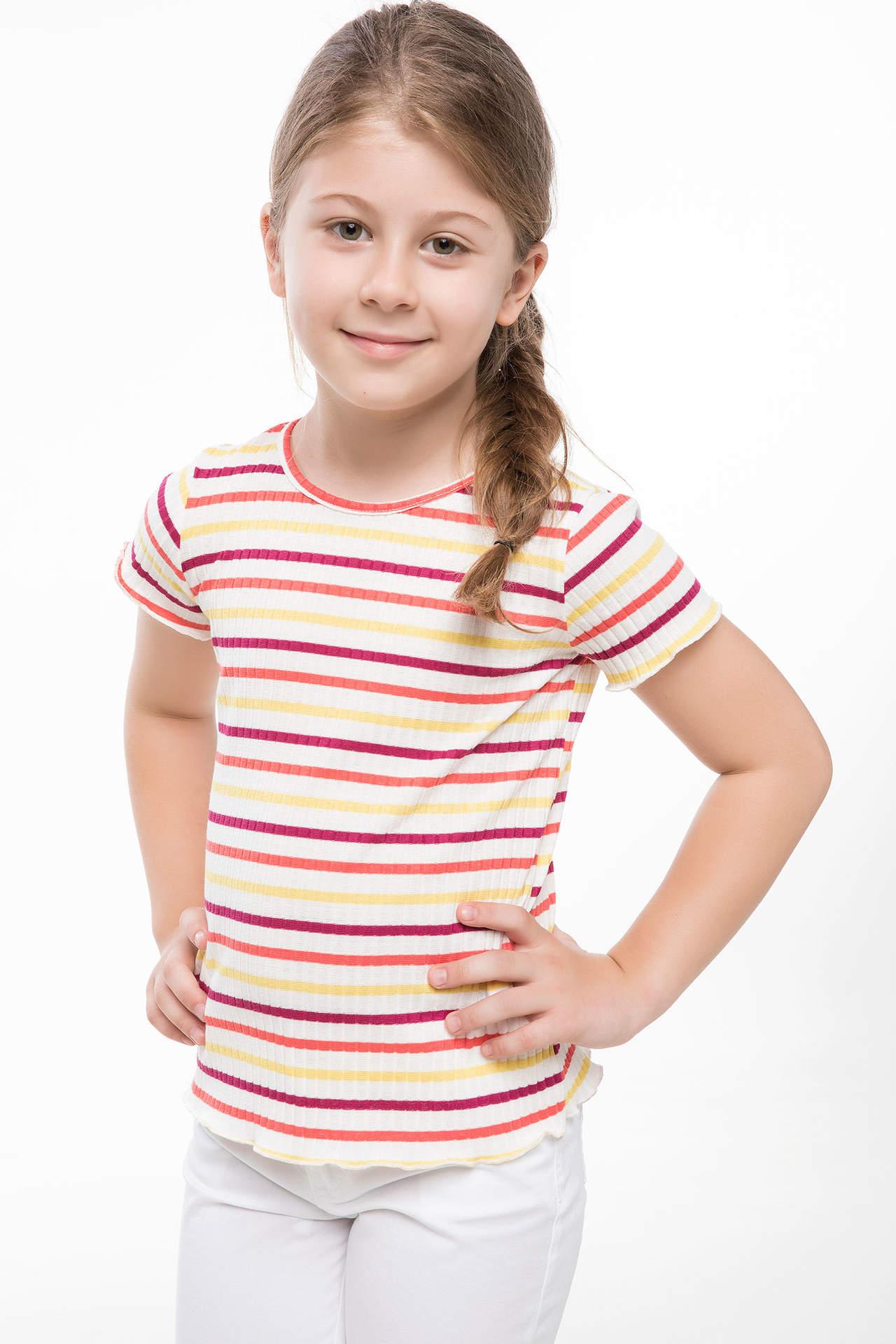 DeFacto Kız Çocuk Çizgili T-shirt Beyaz female