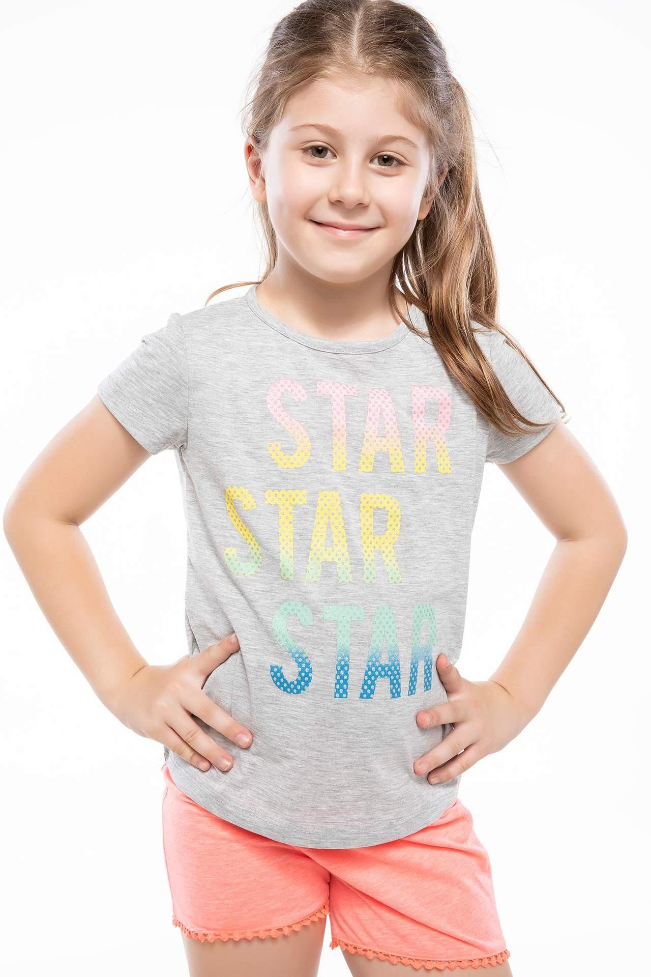 DeFacto Kız Çocuk Yazı Baskılı T-shirt Gri female