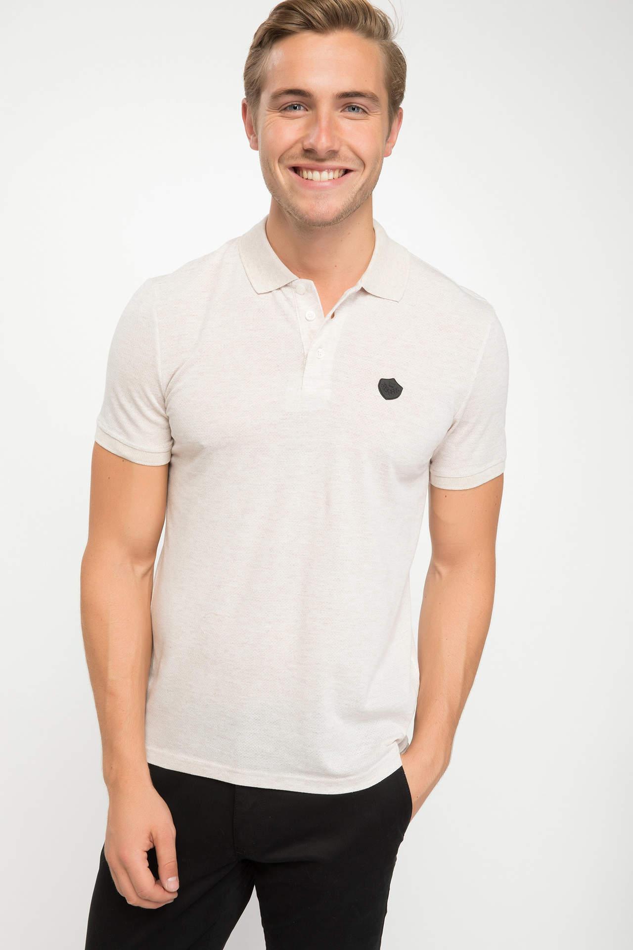 DeFacto Erkek Trend Slim Fit Polo Tişört Bej male