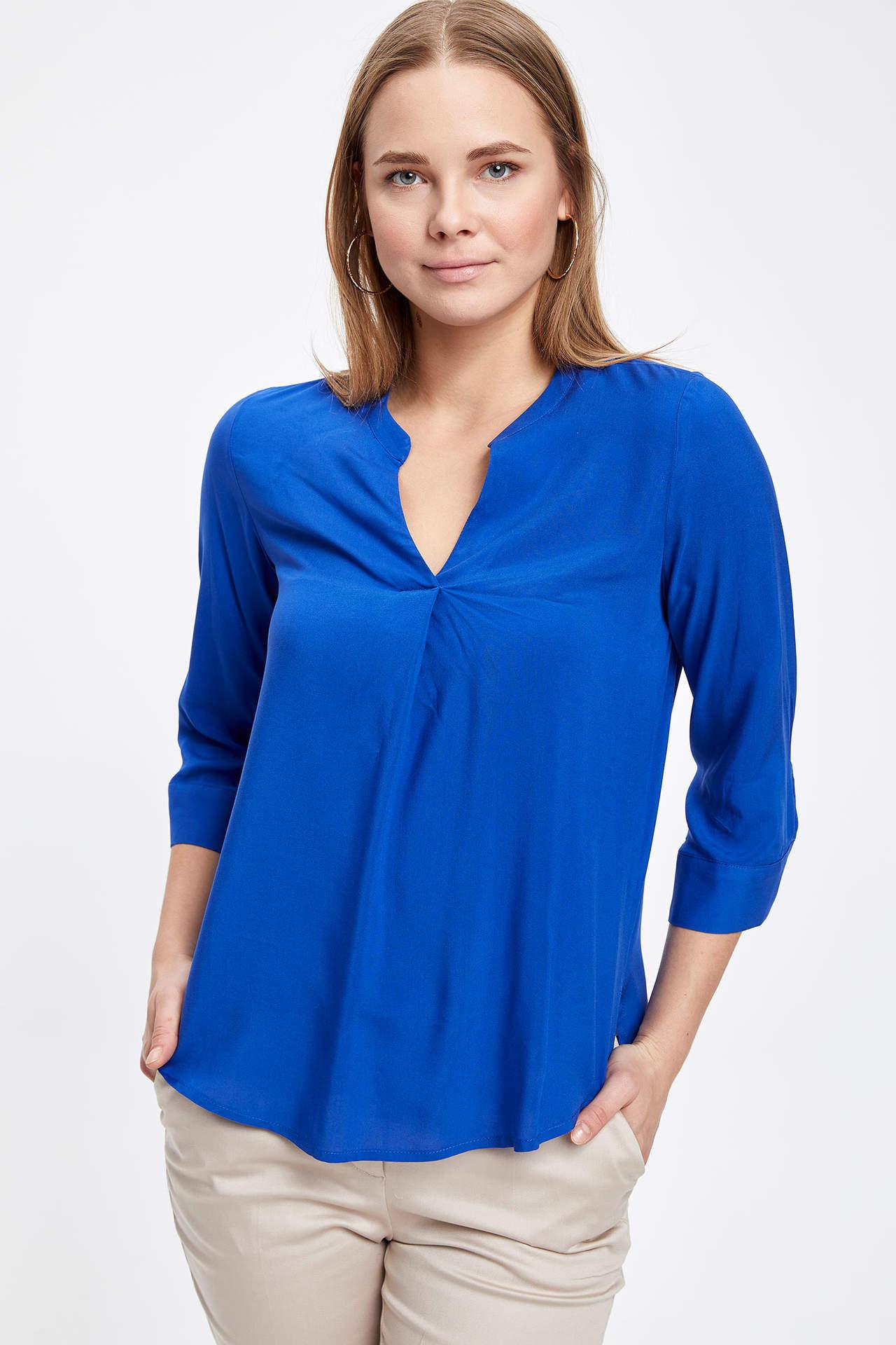 DeFacto Kadın V Yaka Uzun Kollu Bluz Mavi female