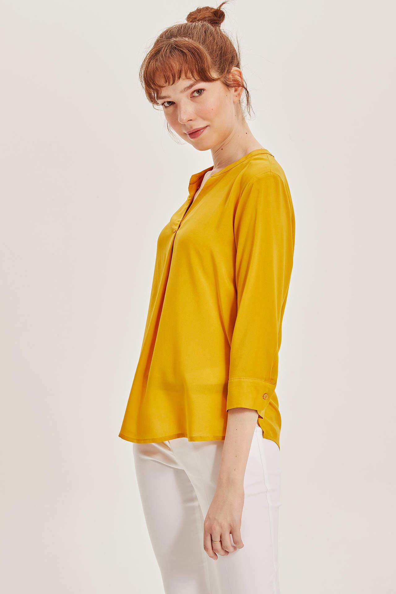 DeFacto Kadın V Yaka Uzun Kollu Bluz Sarı female