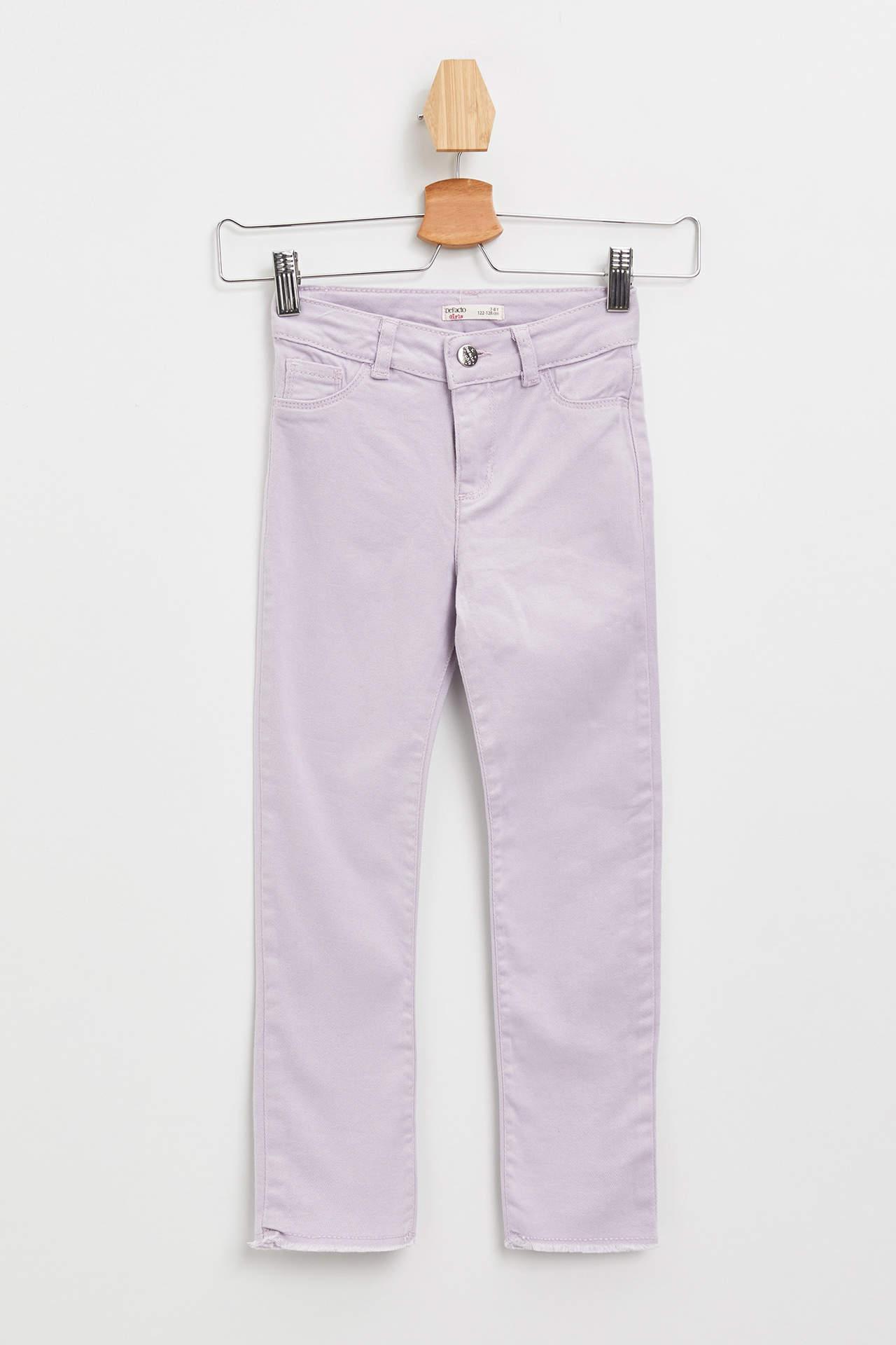 DeFacto Kız Çocuk Slim Fit Gabardin Pantolon Pembe female