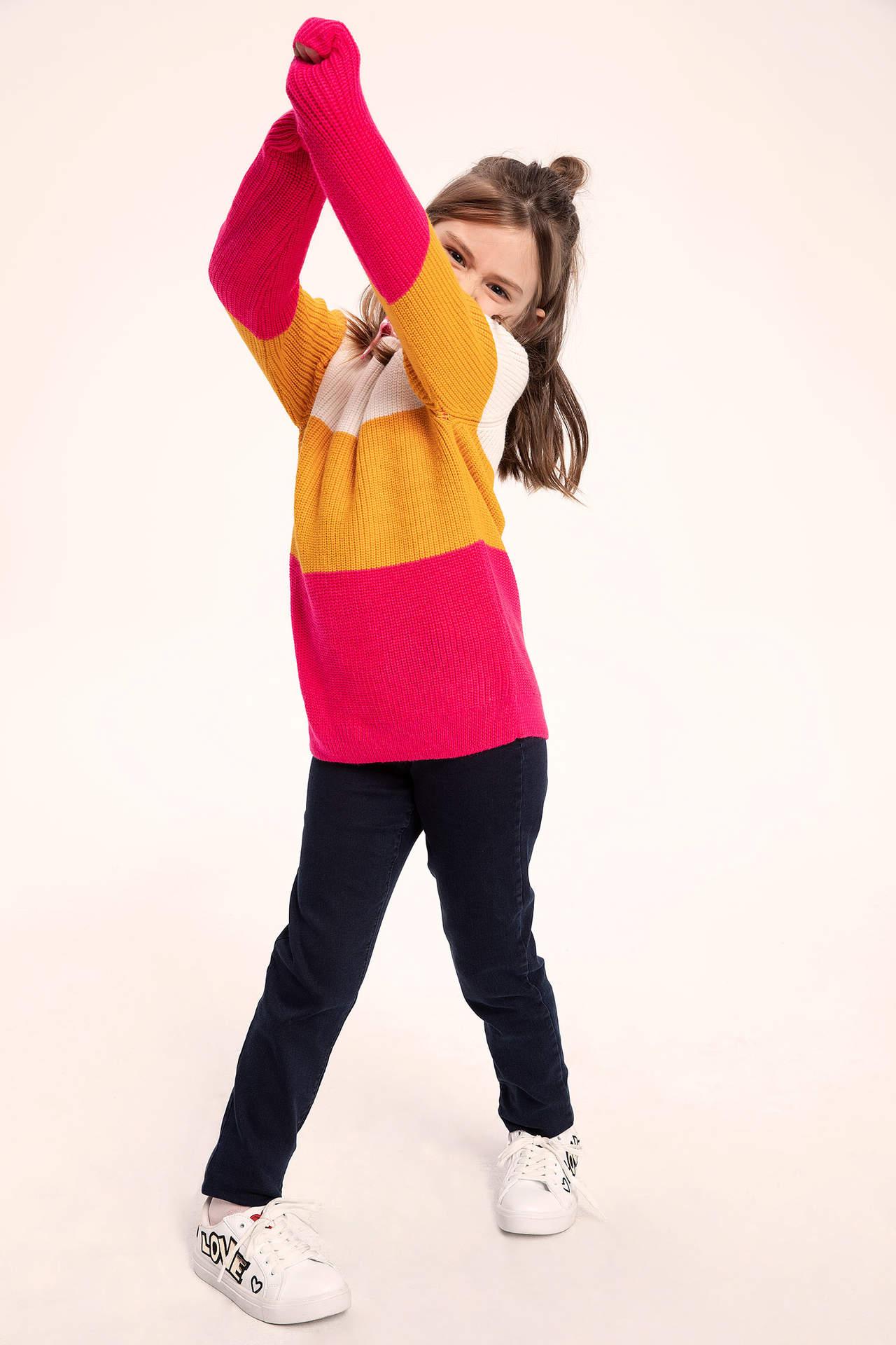 DeFacto Kız Çocuk Jean Tayt Pantolon Mavi female