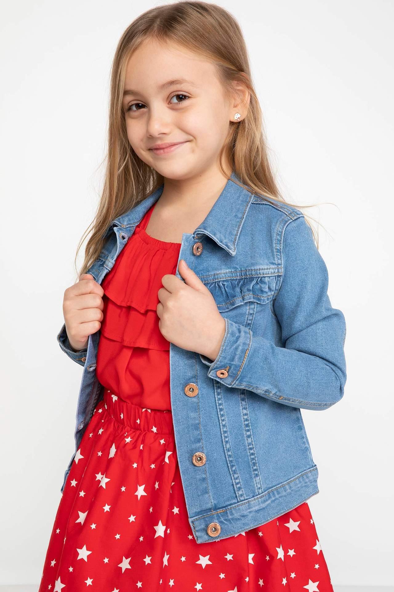 DeFacto Kız Çocuk Jean Ceket Mavi female