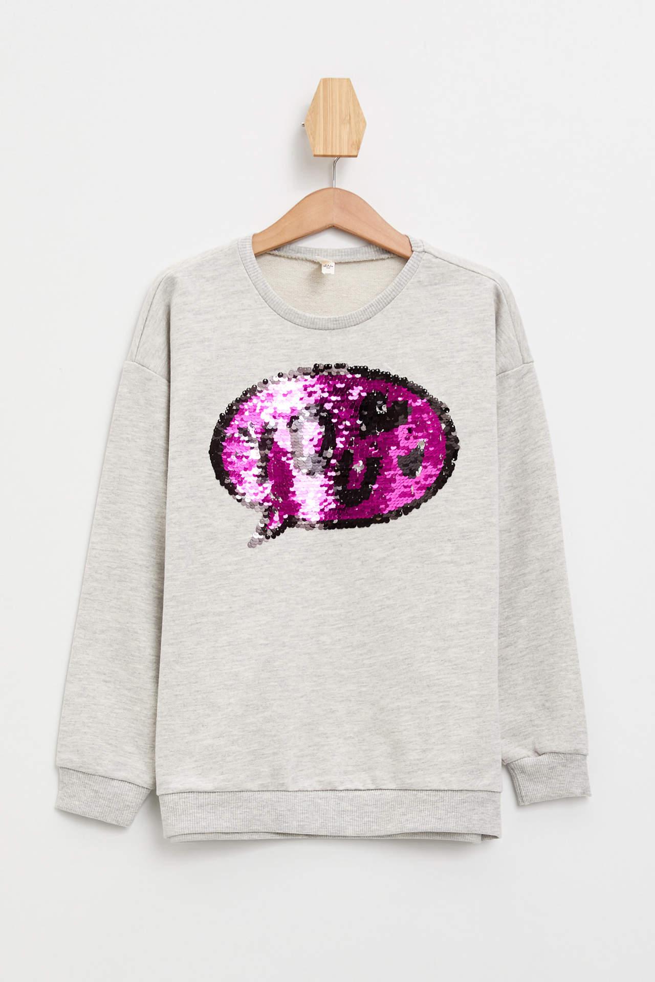 DeFacto Kız Çocuk Baskılı Sweatshirt Gri female