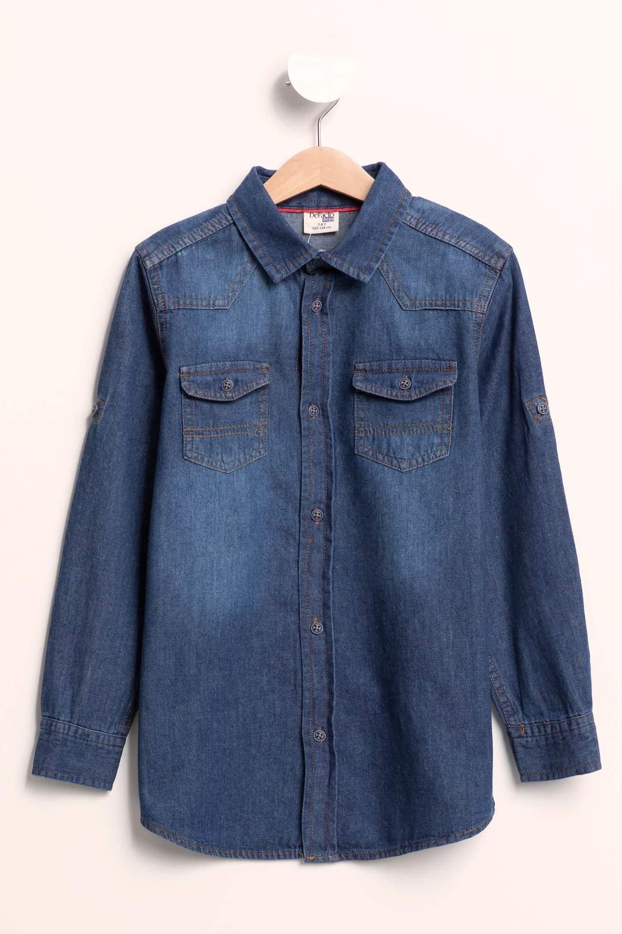DeFacto Erkek Çocuk Katlanabilir Kollu Çift Cepli Jean Gömlek Mavi male