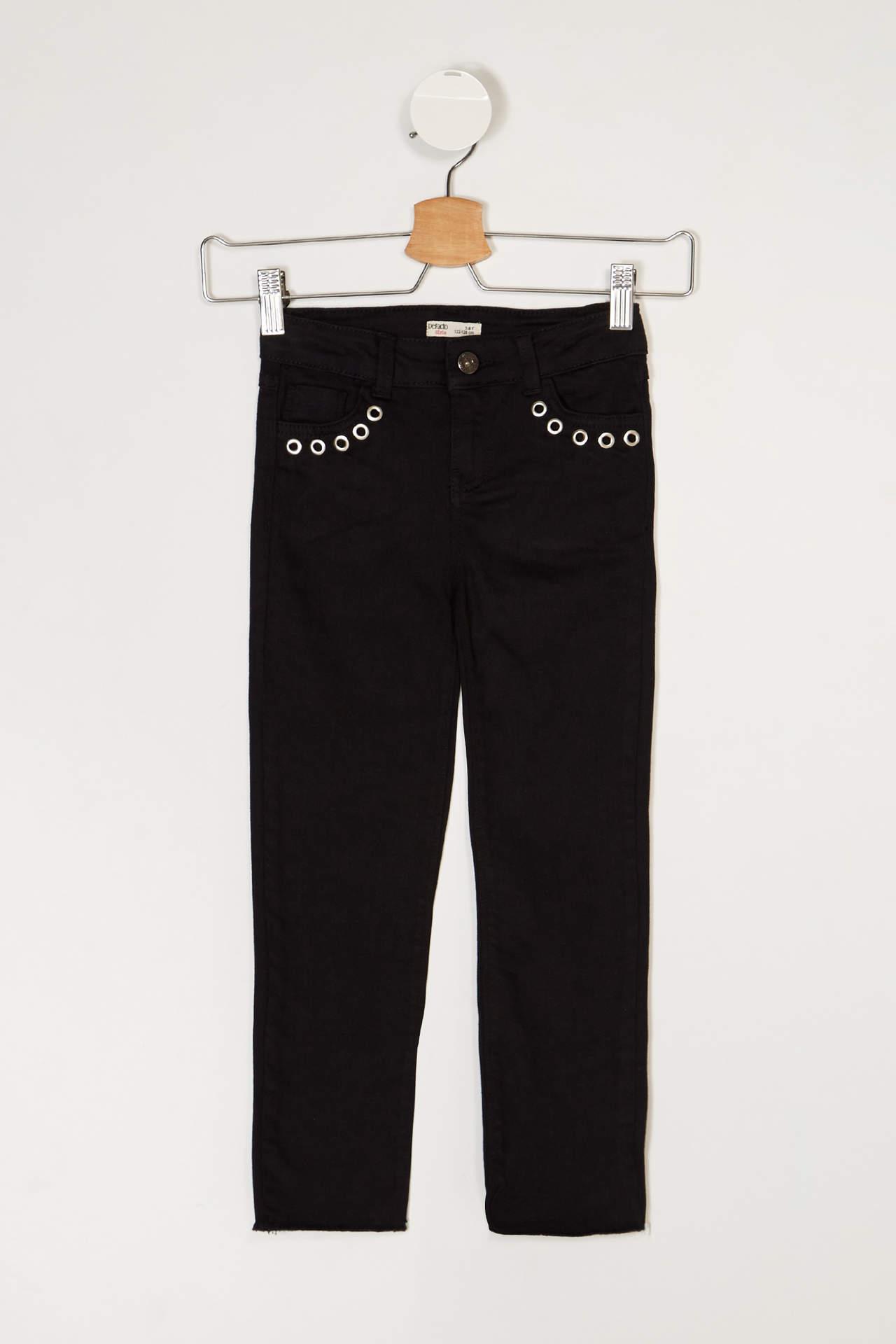 DeFacto Kız Çocuk Skinny Fit Jean Pantolon Siyah female