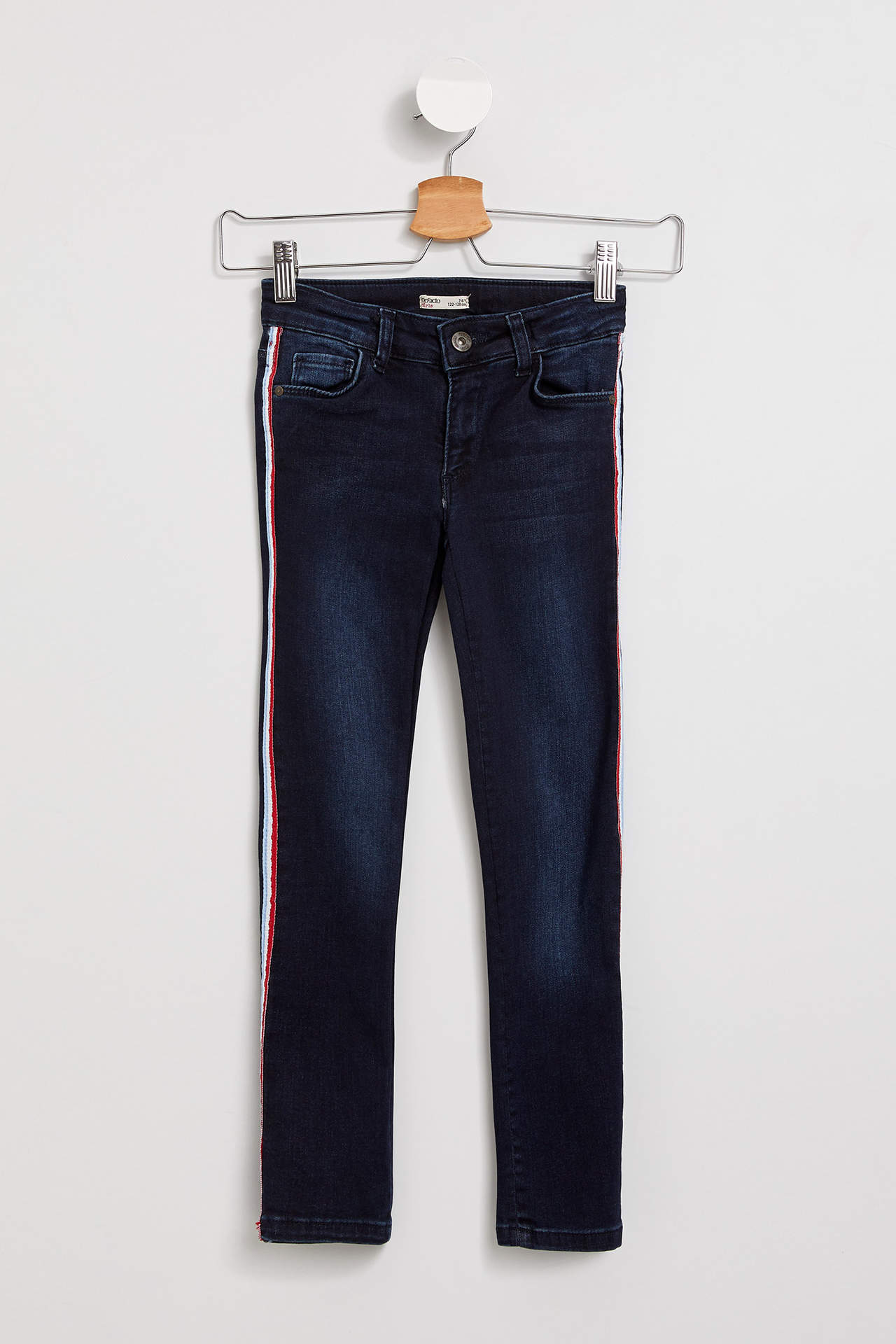 DeFacto Kız Çocuk Şerit Detaylı Jean Pantolon Mavi female