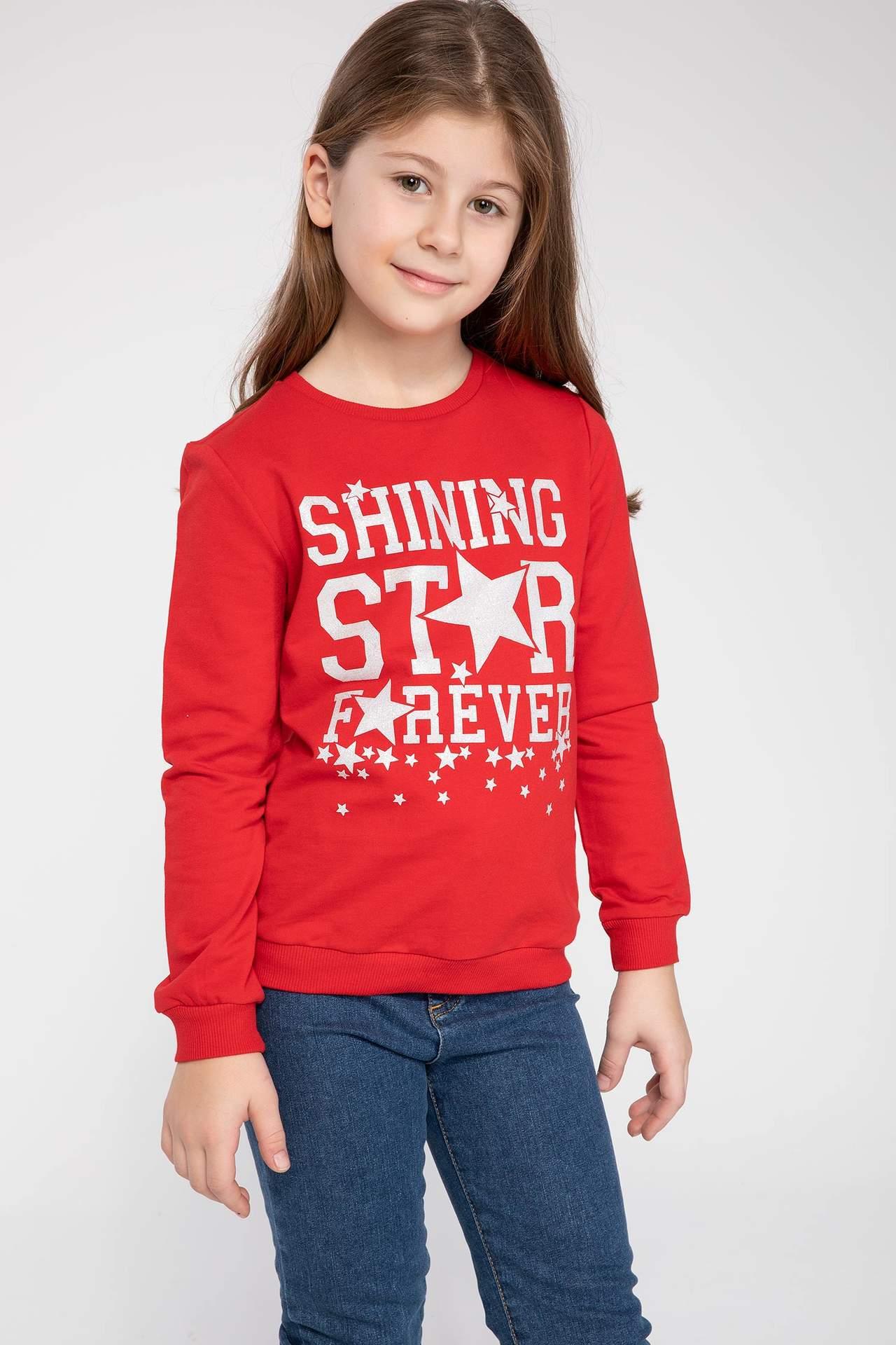 DeFacto Kız Çocuk Simli Yazı Baskılı Sweatshirt Kırmızı female